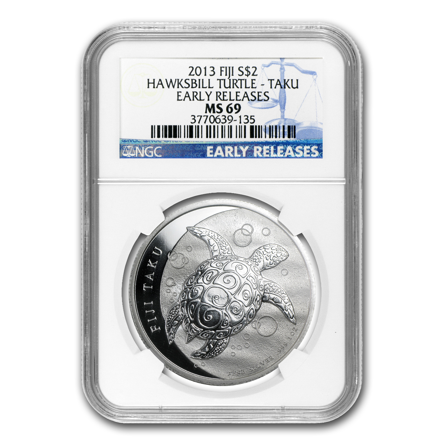 2013 1 oz Silver $2 Fiji Taku MS-69 NGC Early Release