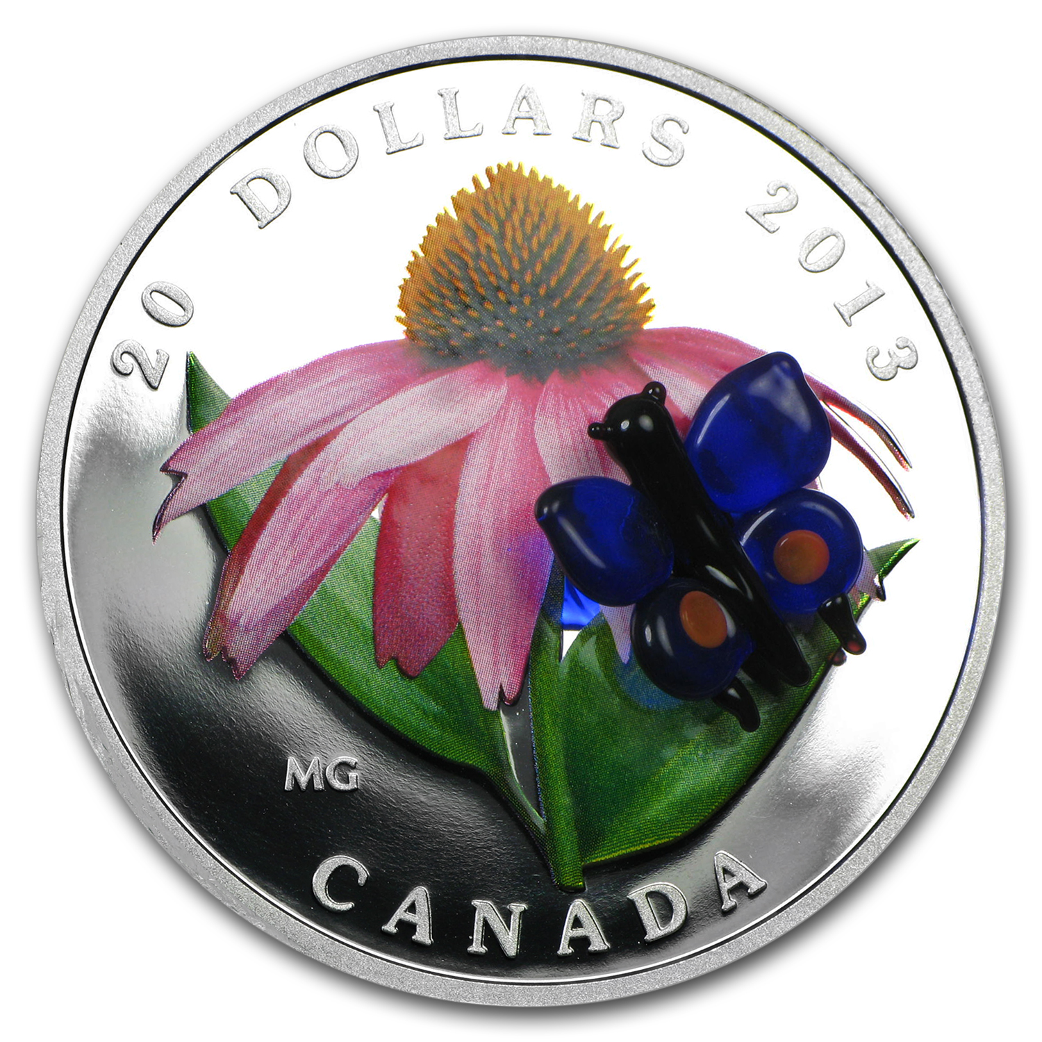 2013 1 oz Silver Canadian $20 Coneflower Venetian Glass Butterfly