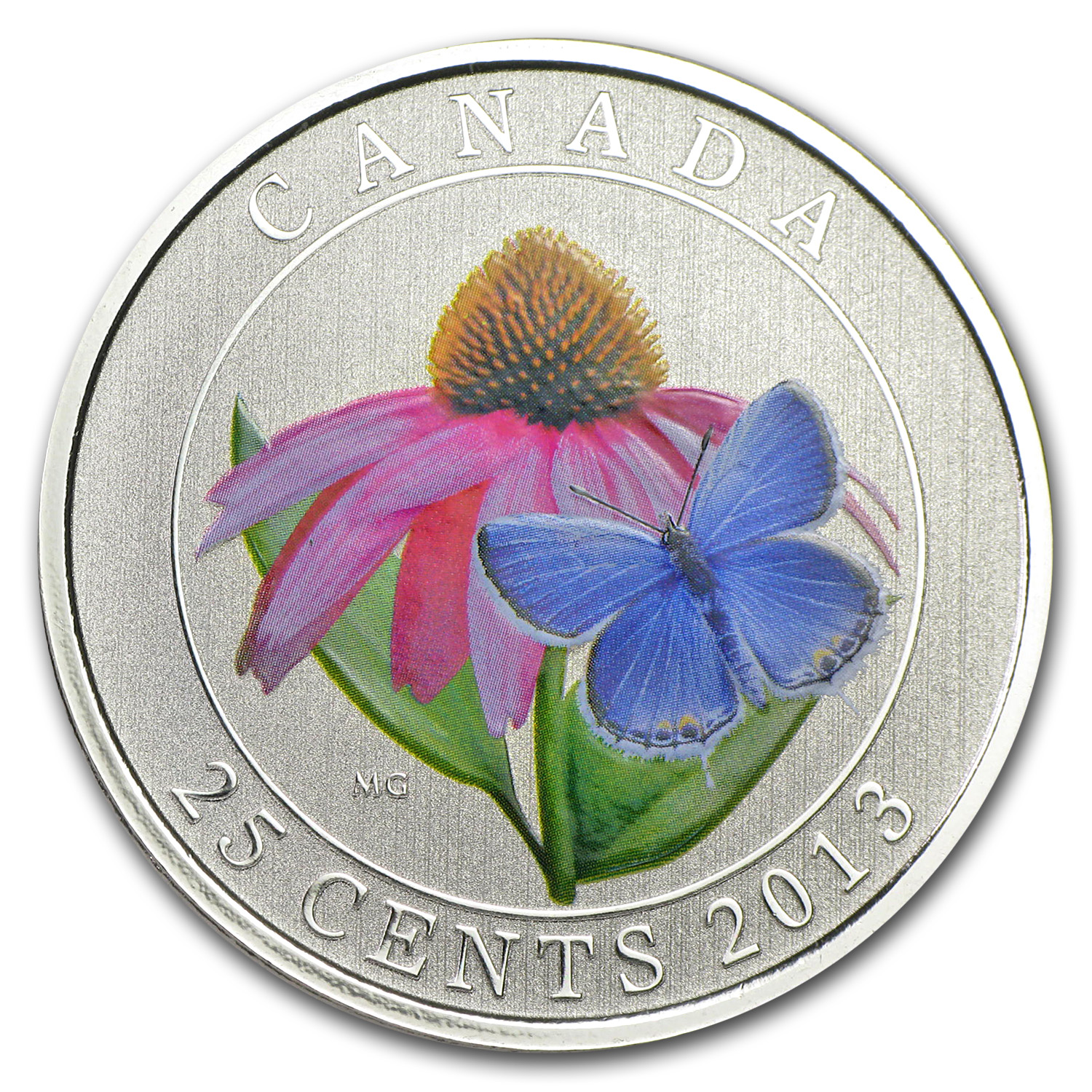 2013 Canada $0.25 Coneflower & Butterfly (Coloured)