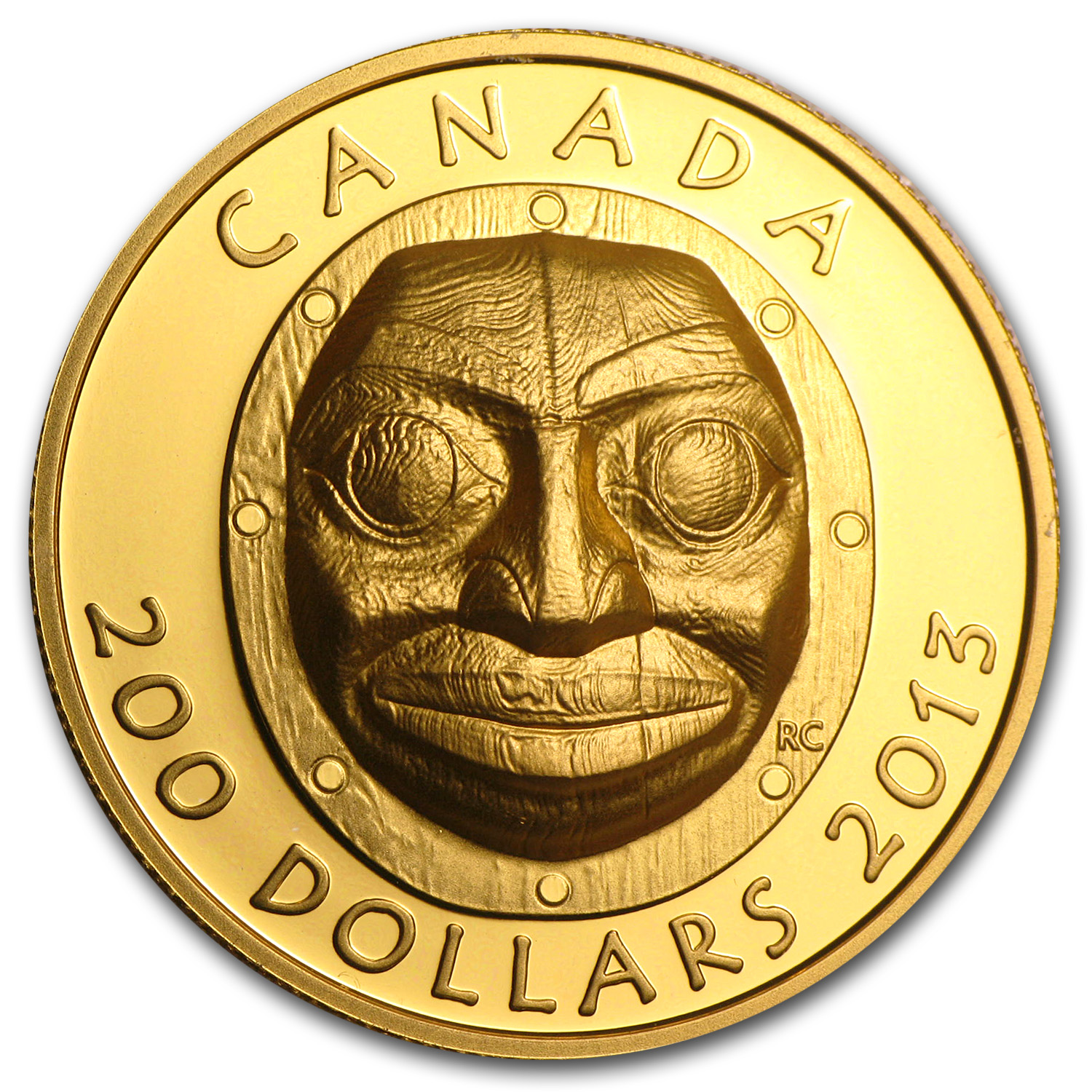 2013 Canada 1 oz Proof Gold $200 Grandmother Moon Mask (UHR)