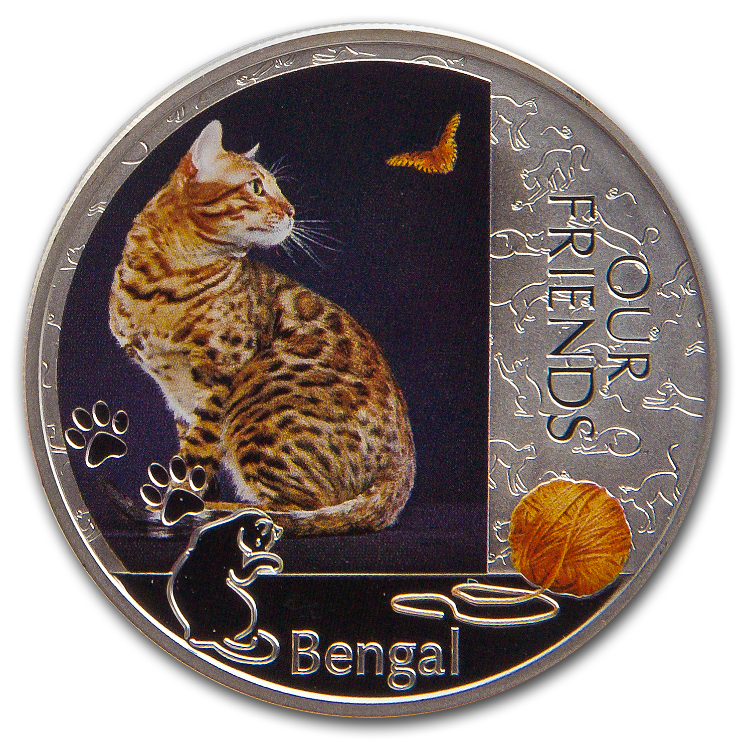2012 Niue 1 oz Silver Our Friends Kitten Collection Bengal Cat