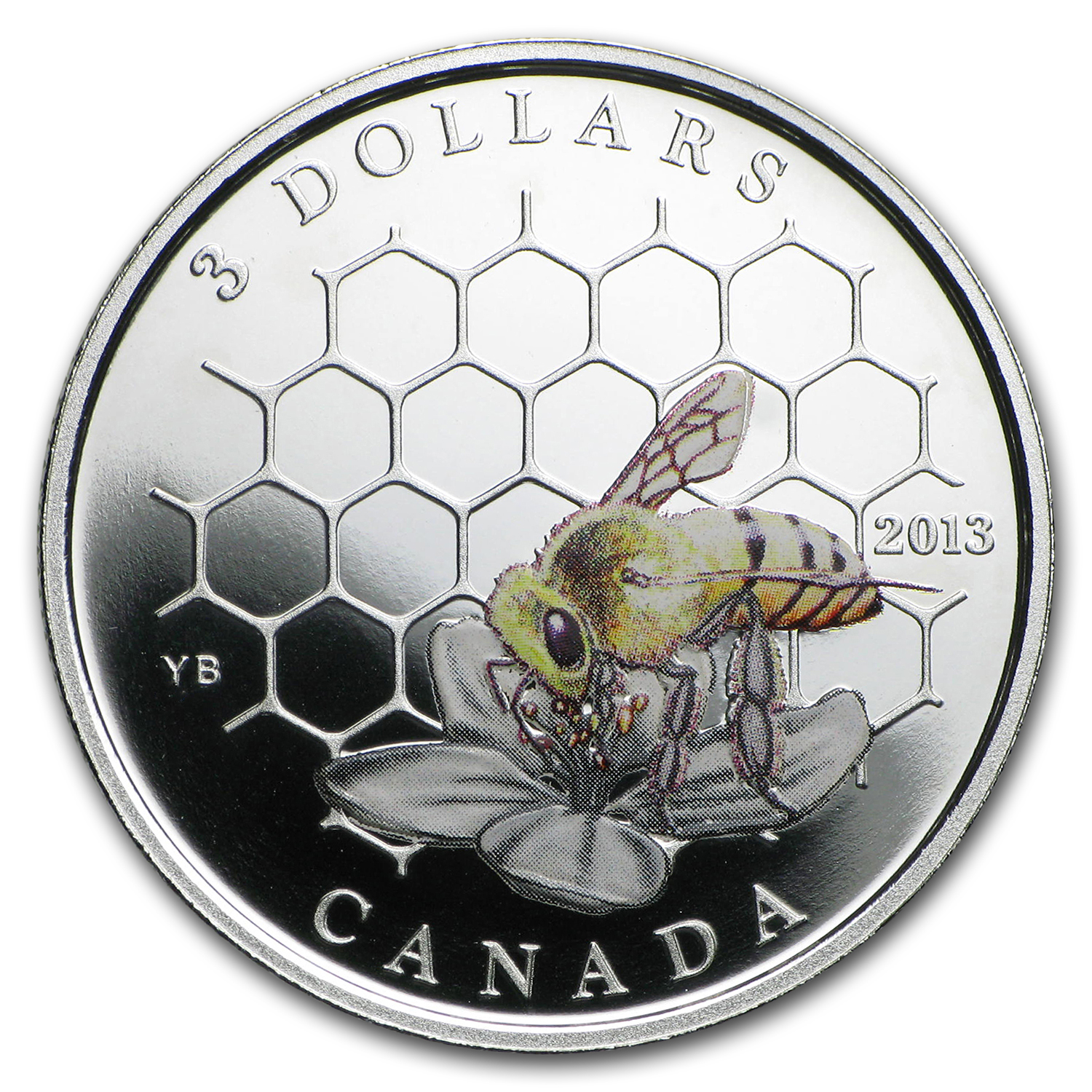 2013 1/4 oz Silver Canadian $3 Animal Architects - Bee & Hive