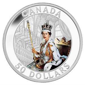 2013 5 oz Silver Canadian $50 The Queen's Coronation