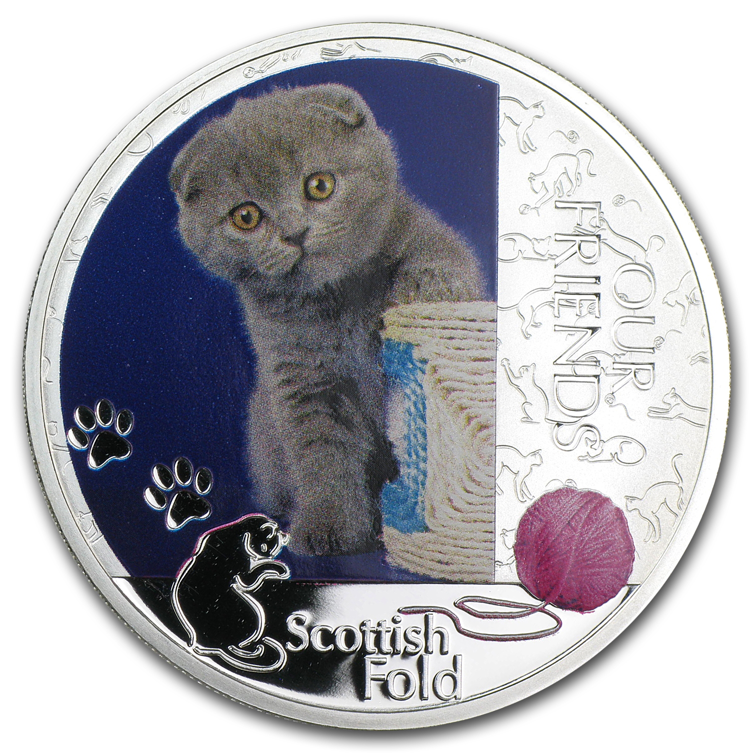 2012 1 oz Silver Niue Friends Kitten Collection - Scottish Fold