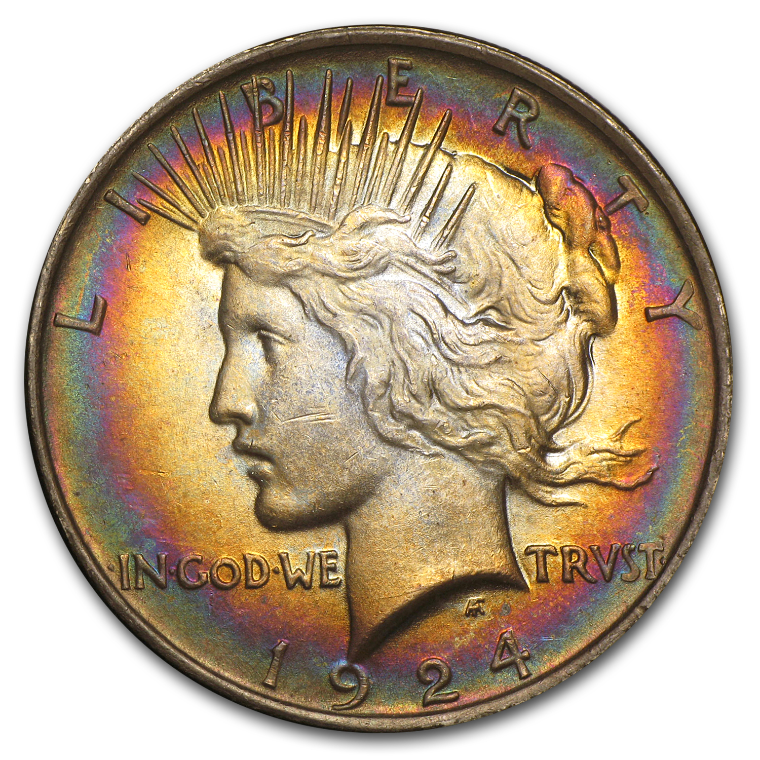 1924 Peace Dollar MS-63 (Rainbow Target Toning)