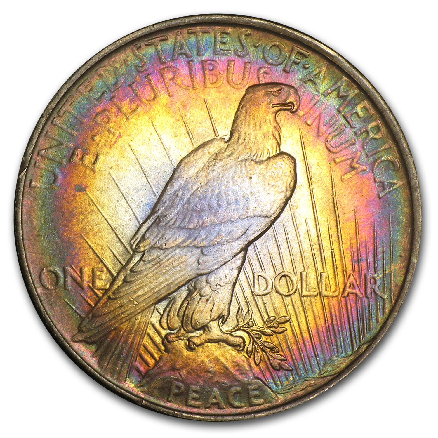 1924 Peace Dollar MS-63 - Rainbow Target Toning