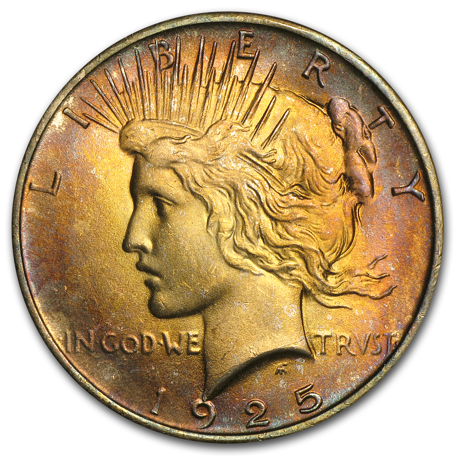 1925 Peace Dollar MS-64 (Attractive Peach Toning)
