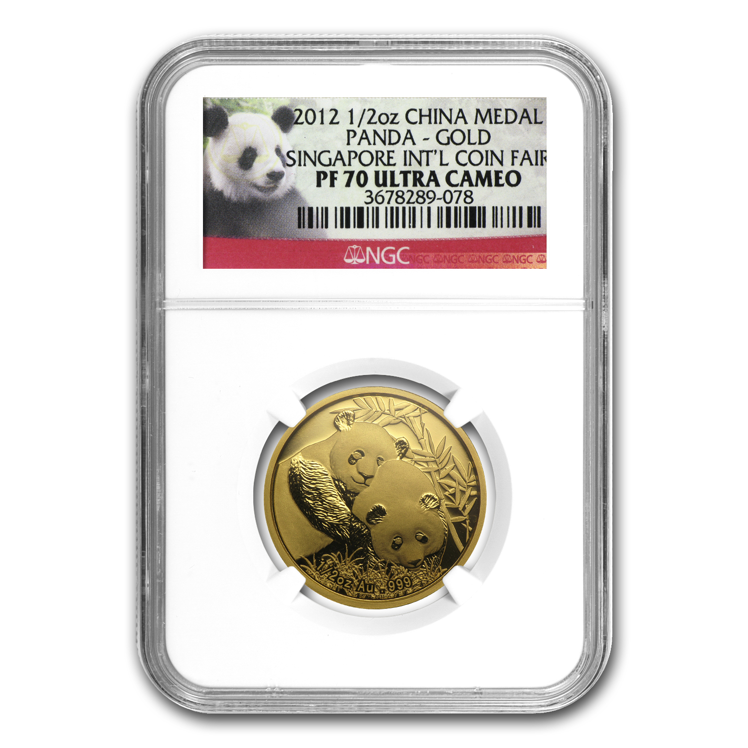 2012 China 1/2 oz Gold Panda PF-70 NGC (Singapore Coin Fair)