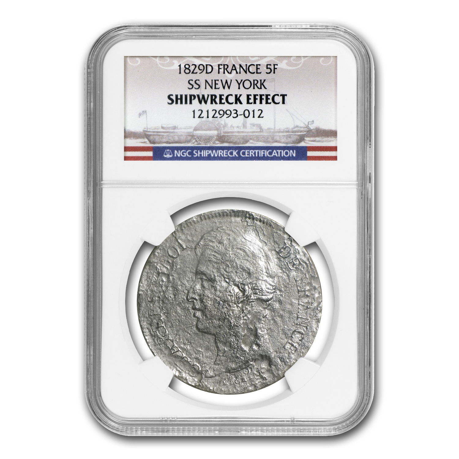France 1829 Silver 5 Francs SS New York NGC Shipwreck Effect