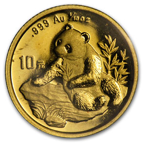 1998 (1/10 oz) Gold Chinese Panda - SD (Sealed Sheet of 10)