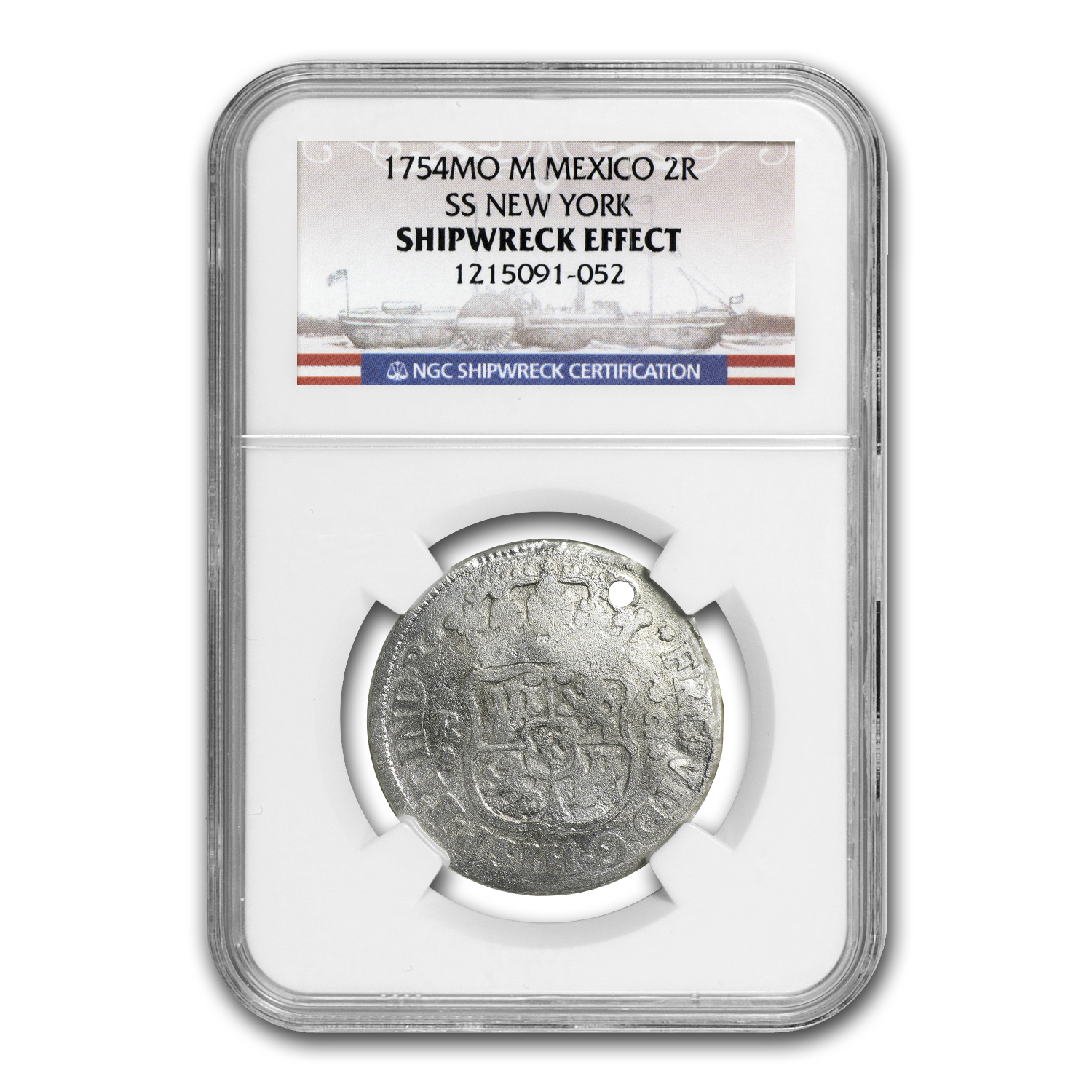 1754 MO M Mexico 2R SS New York SHIPWRECK EFFECT Coin - NGC