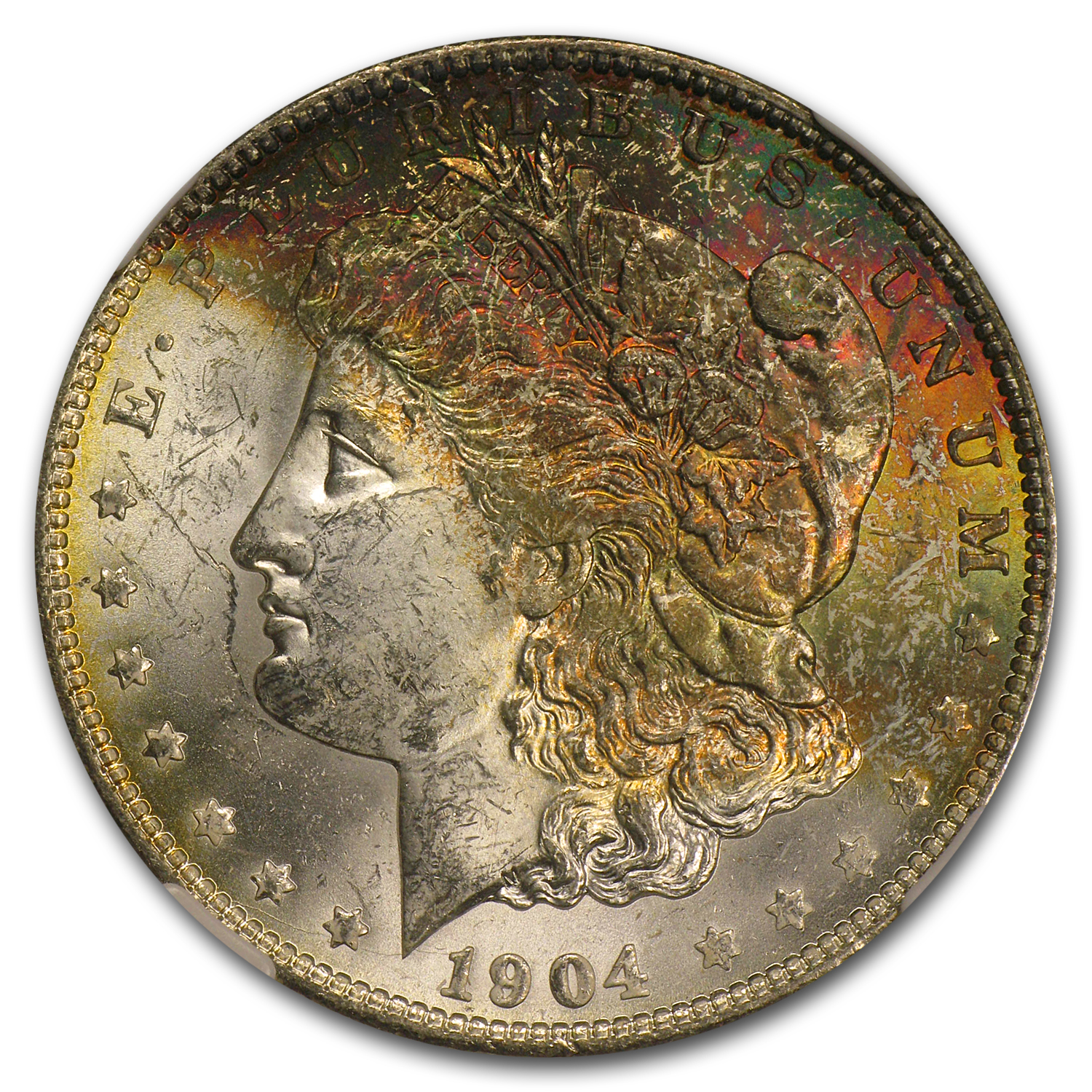 1904-O Morgan Dollar MS-63 NGC (Nice Toning, CAC)