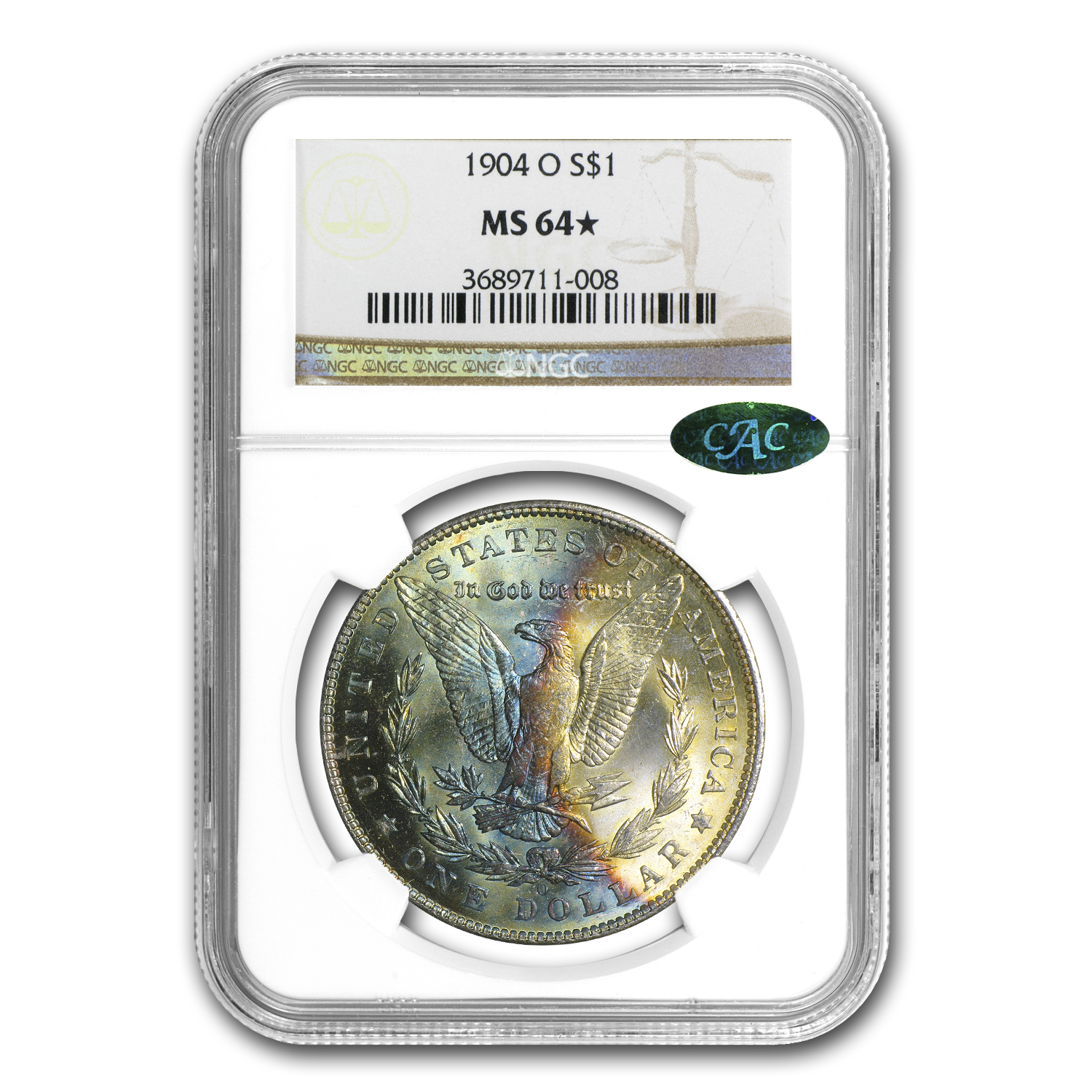 1904-O Morgan Dollar MS-64* Star NGC (CAC, Blue Rev Crescent)