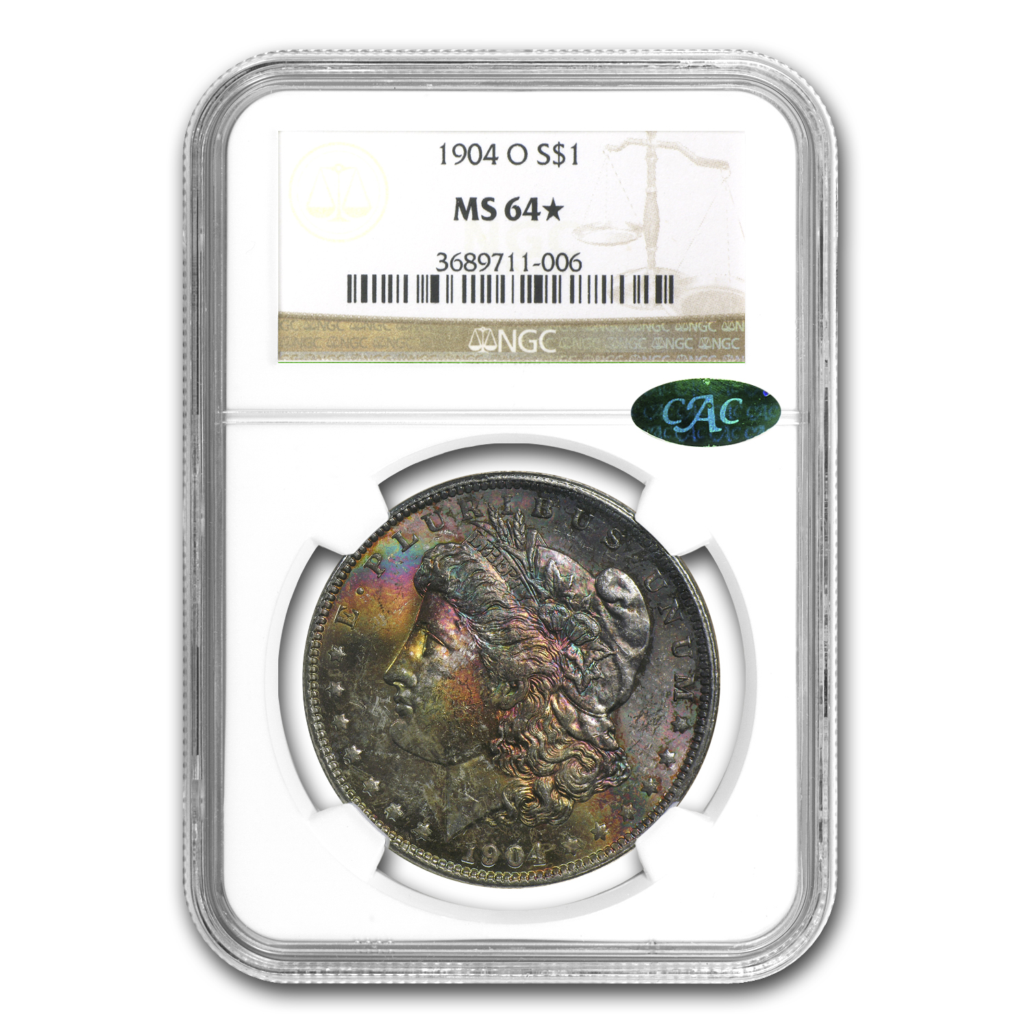 1904-O Morgan Dollar MS-64* NGC (Beautiful Obv Colors, CAC)