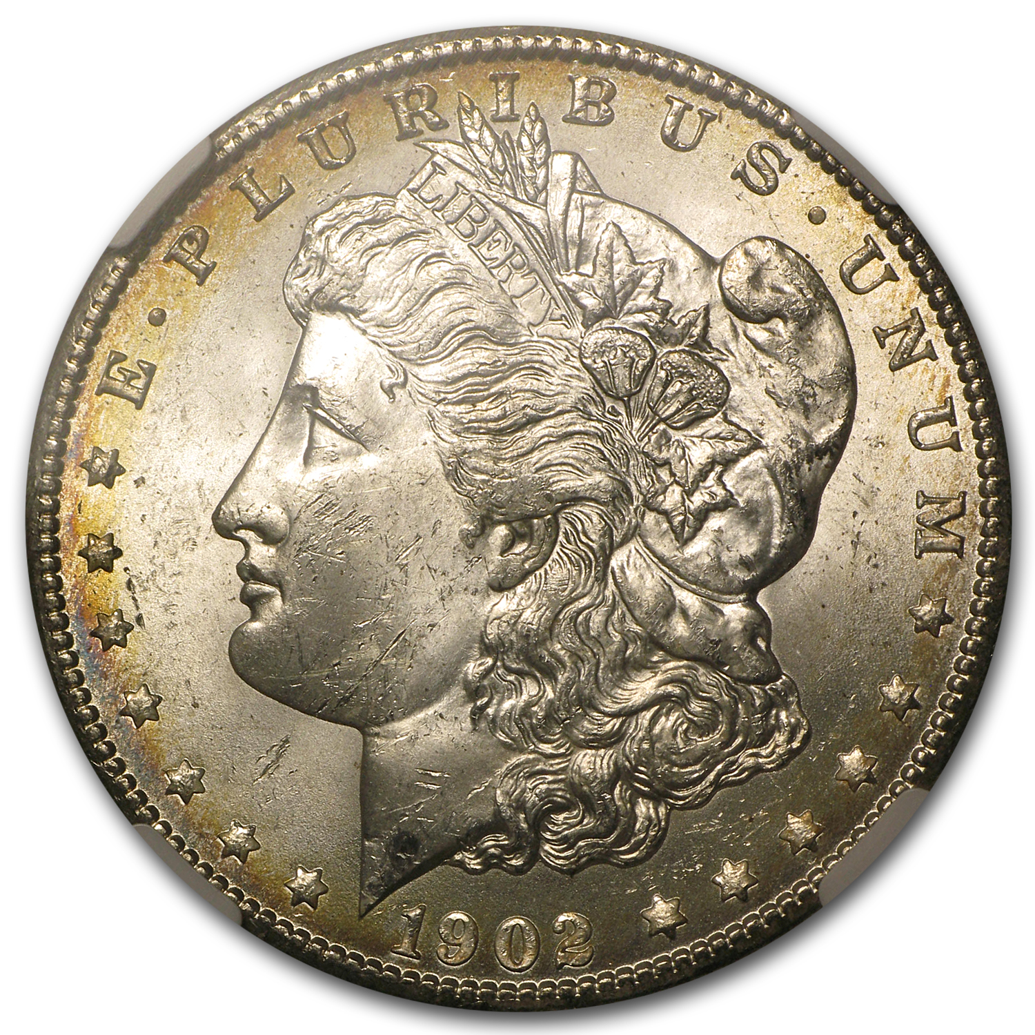 1902-O Morgan Dollar MS-63* Star NGC (CAC, Pink & Yellow Rev)