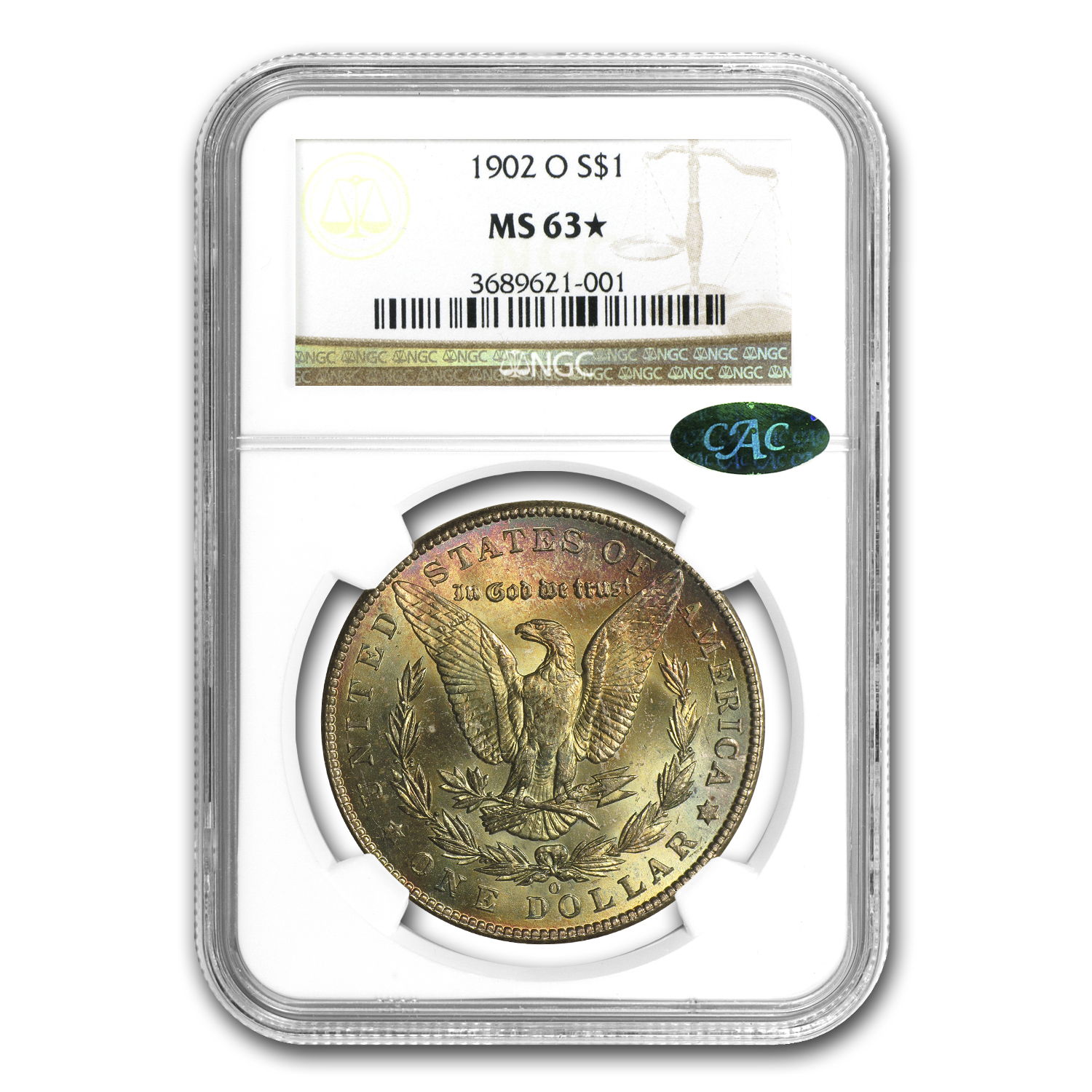 1902-O Morgan Dollar MS-63* Star NGC Pink and Yellow Reverse CAC