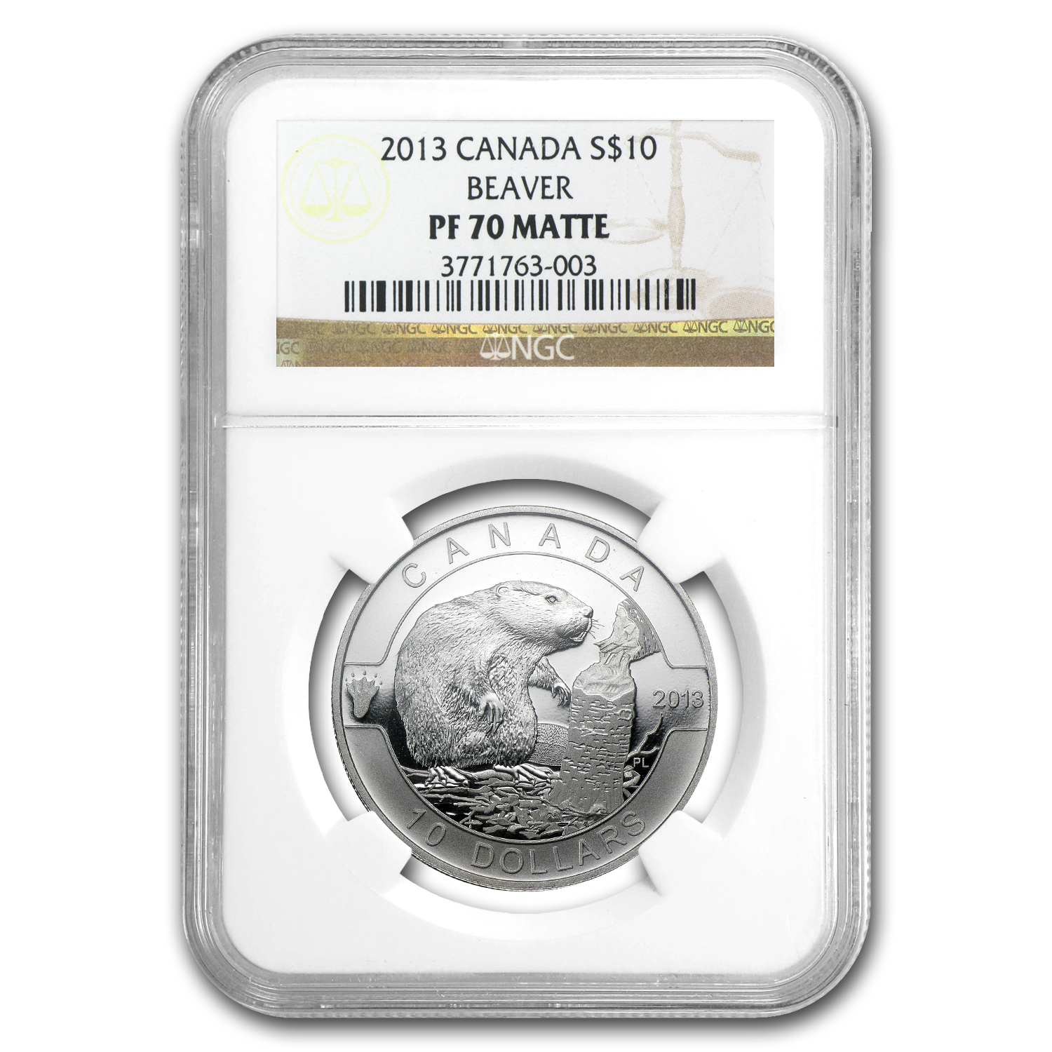 2013 1/2 oz Silver Canadian $10 Beaver PF-70 MATTE NGC