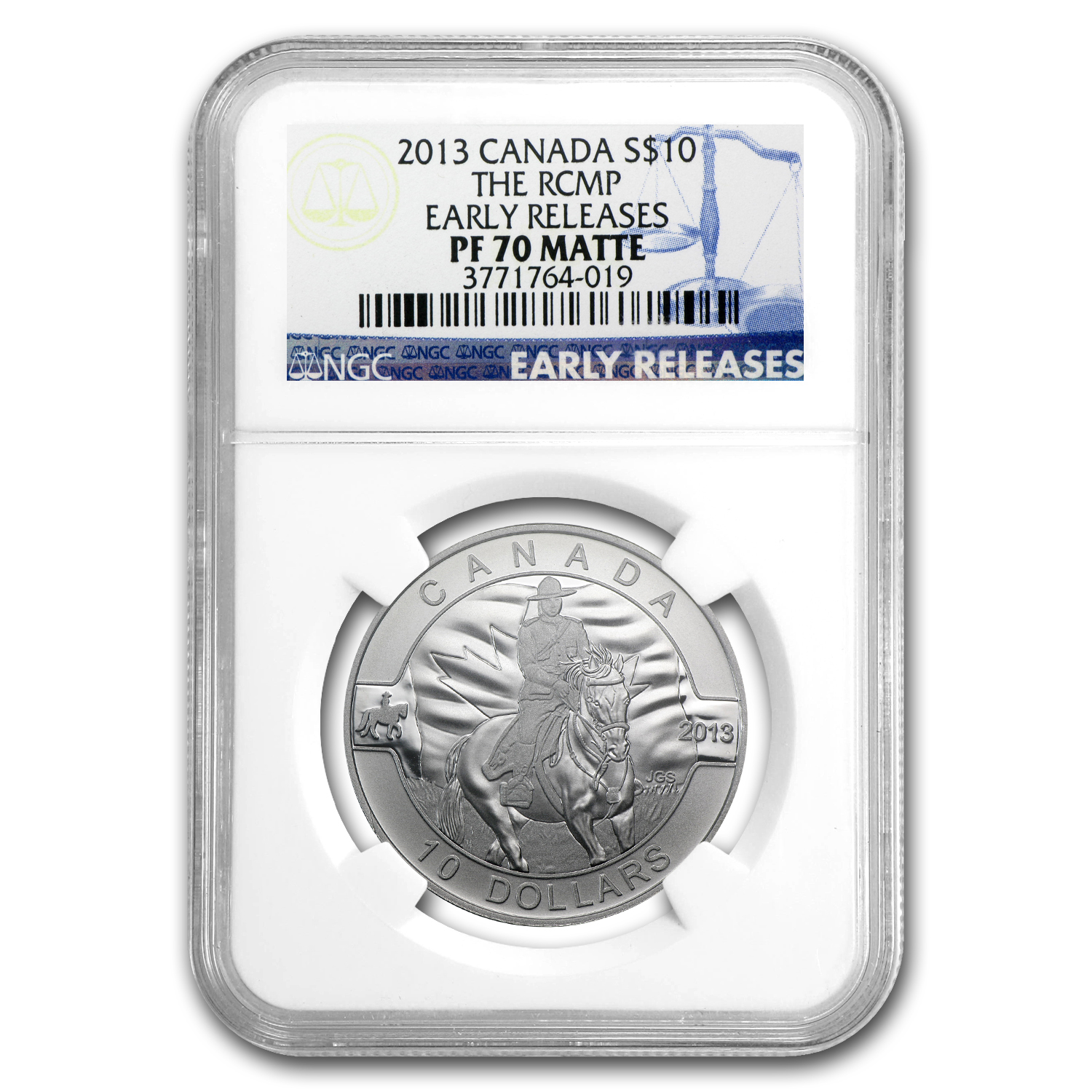 2013 1/2 oz Silver Canadian $10 RCMP PF-70 MATTE NGC