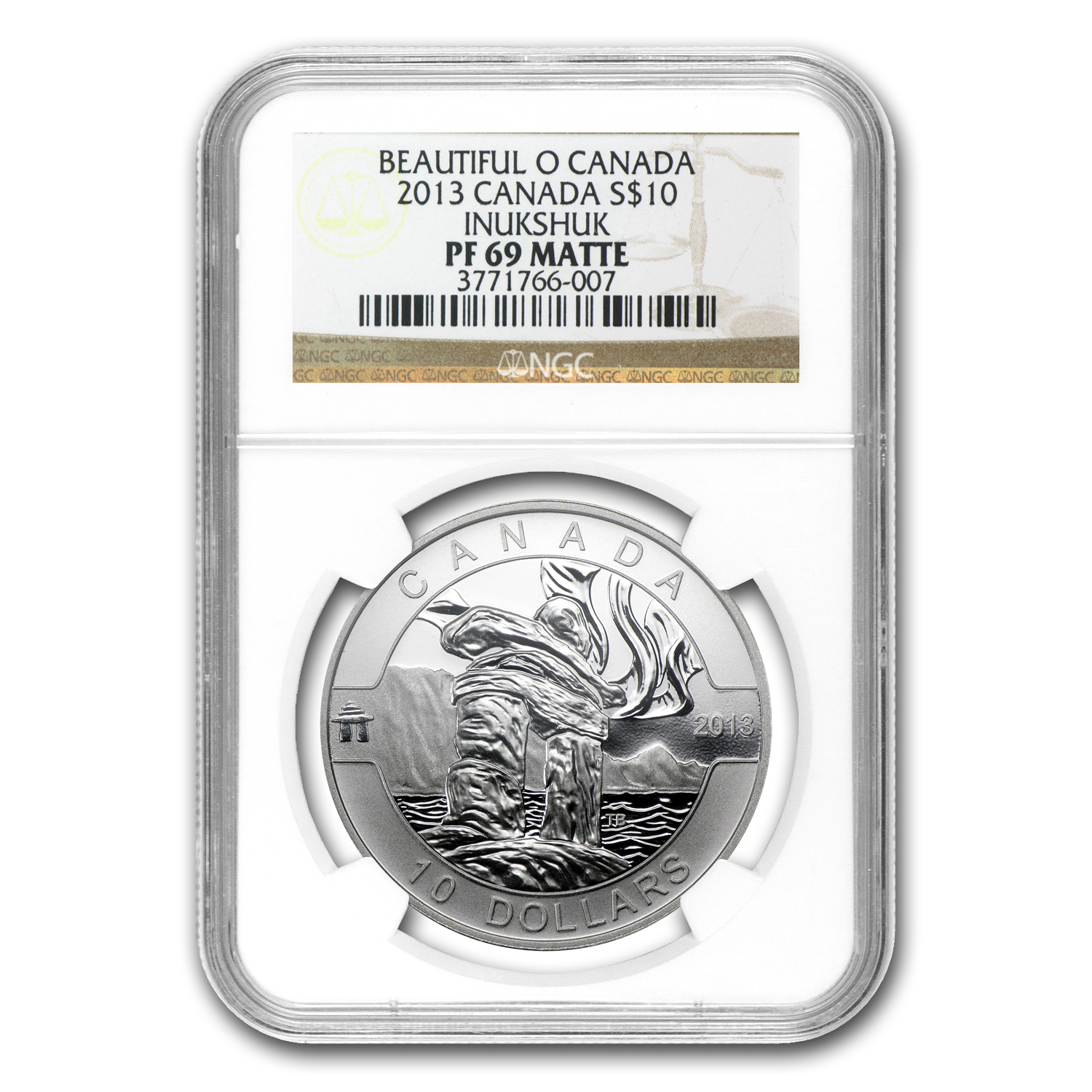 2013 1/2 oz Silver Canadian $10 Inukshuk PF-69 MATTE NGC