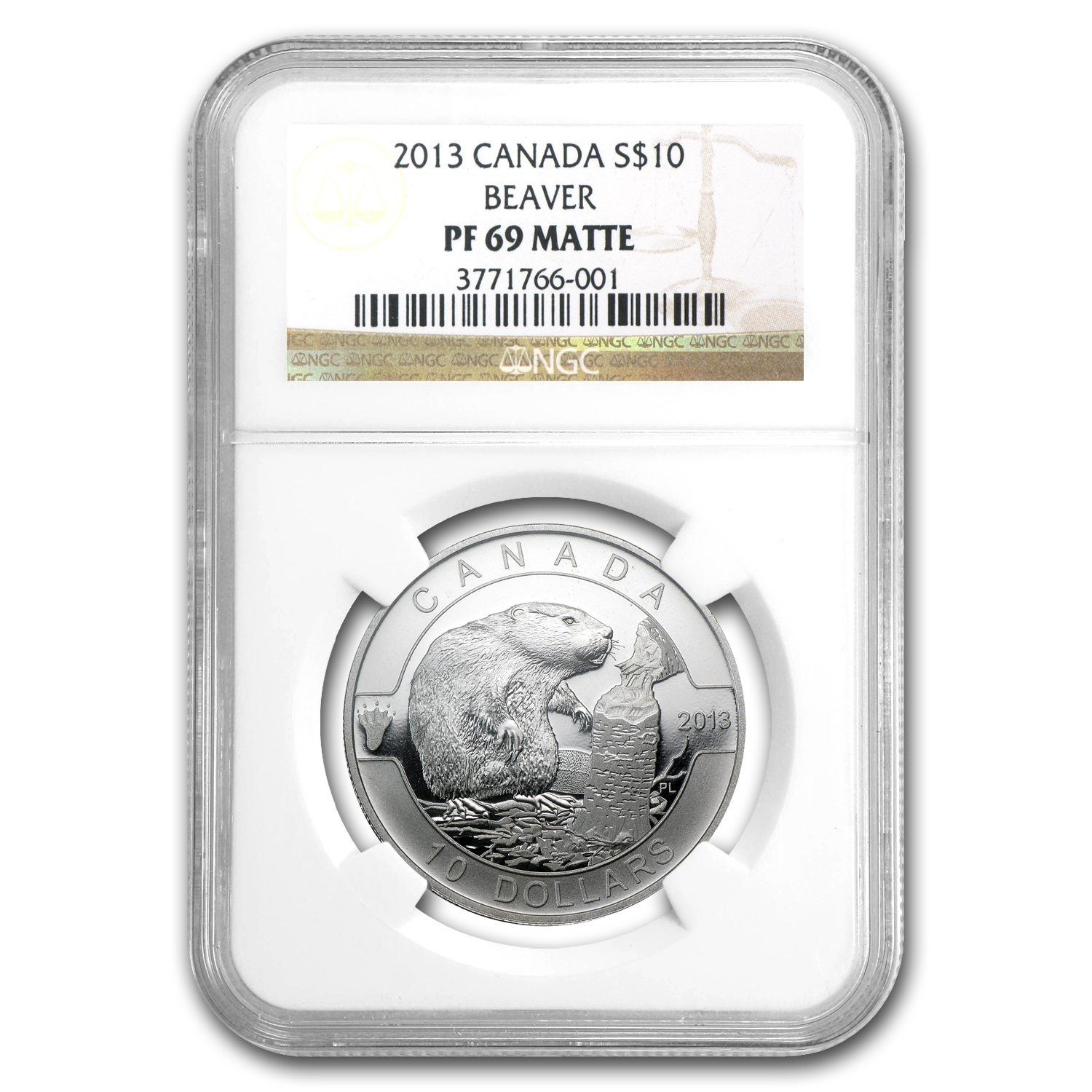 2013 1/2 oz Silver Canadian $10 Beaver PF-69 MATTE NGC