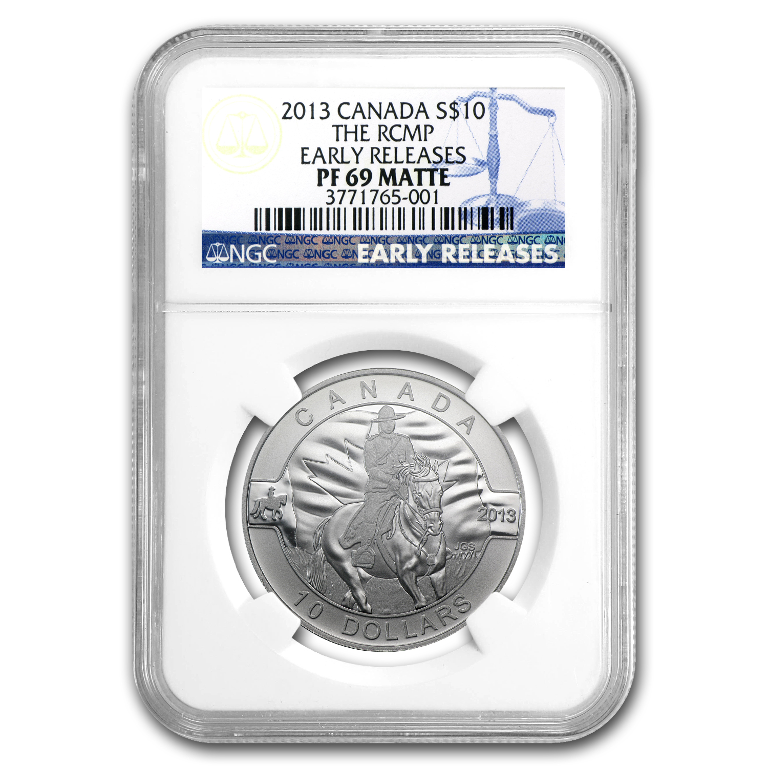 2013 1/2 oz Silver Canadian $10 RCMP PF-69 MATTE NGC
