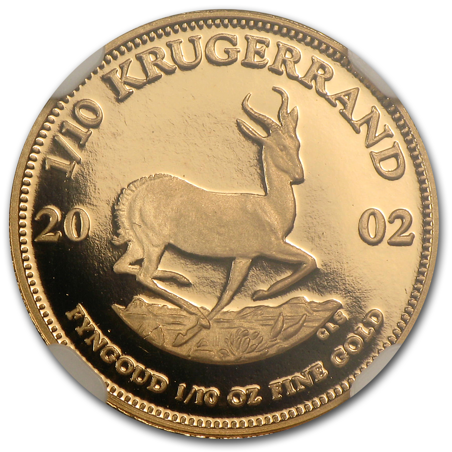 2002 1/10 oz Gold South African Krugerrand PF-69 NGC