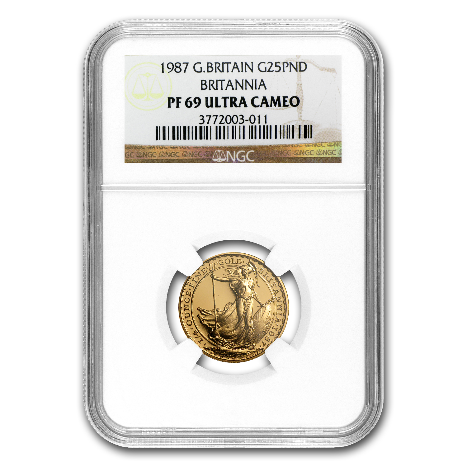 1987 1/4 oz Proof Gold Britannia PF-69 UCAM NGC