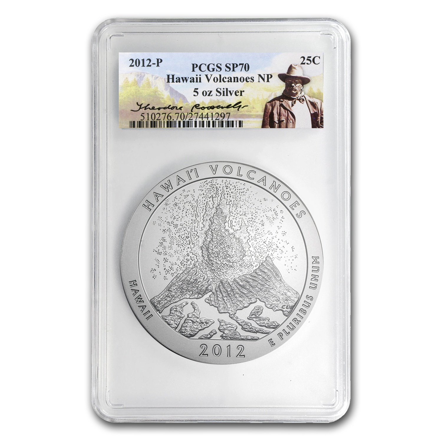 2012-P 5 oz Silver Hawaii Volcanoes SP-70 PCGS Roosevelt