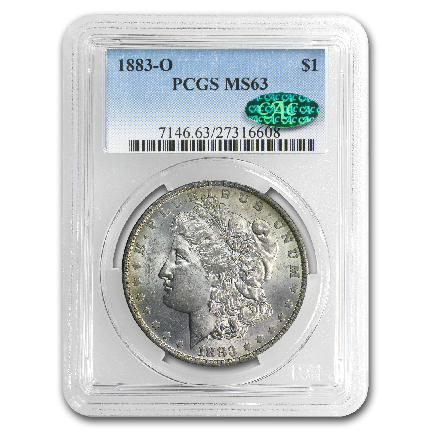 1883-O Morgan Dollar MS-63 PCGS (CAC, Rainbow Rev Crescent)