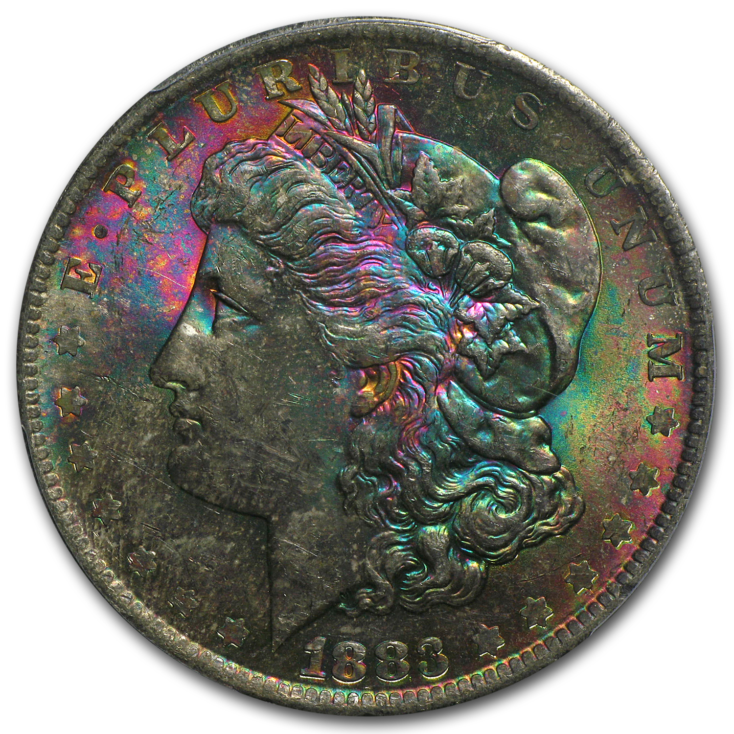 1883-O Morgan Dollar MS-63 PCGS (Beautiful Toned Obv, CAC)