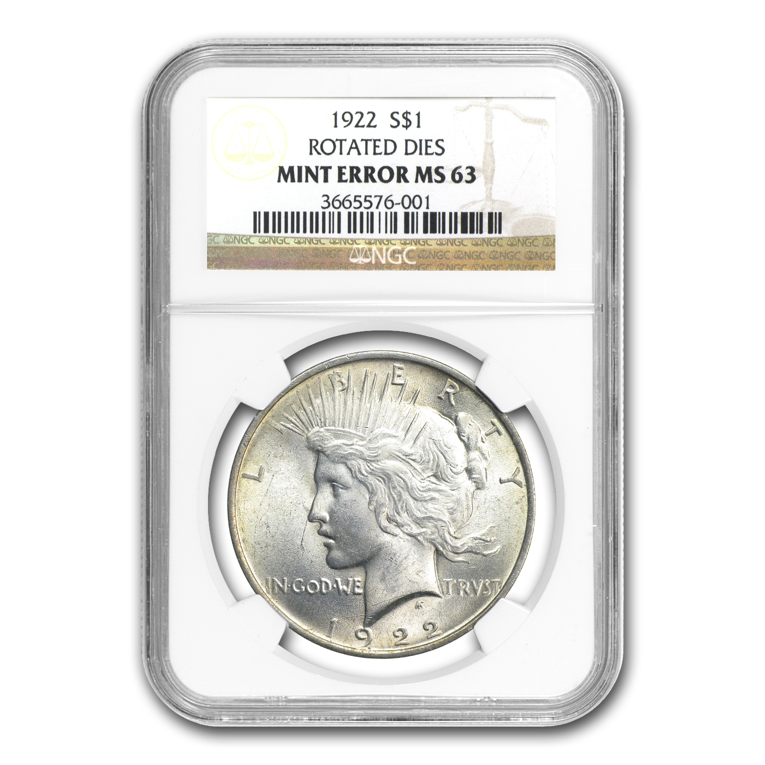 1922 Peace Dollar MS-63 NGC (45 Degree CW Rotated Rev Error)