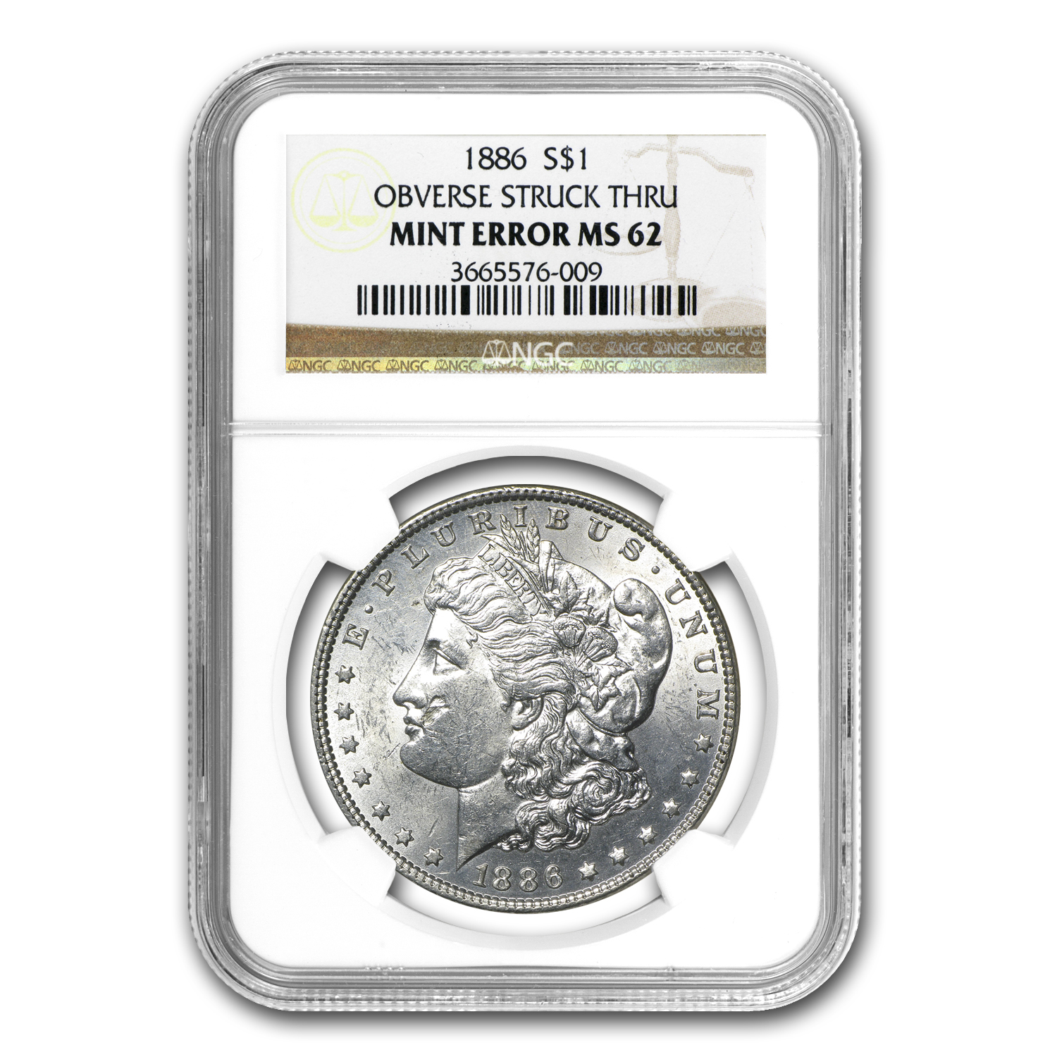 1886 Morgan Dollar MS-62 NGC Obverse Struck Thru Mint Error