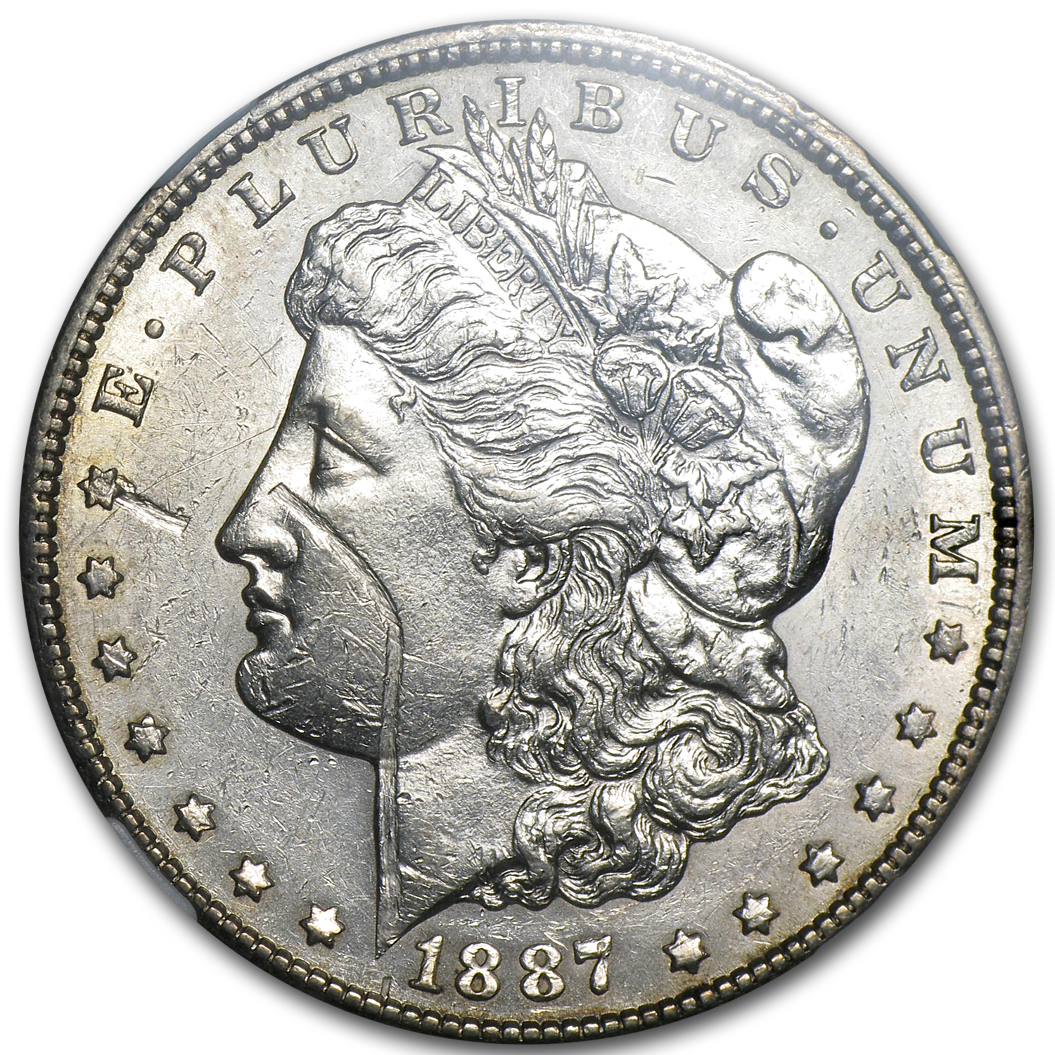1887-S Morgan Dollar AU-55 NGC (Obv Struck Thru Error)