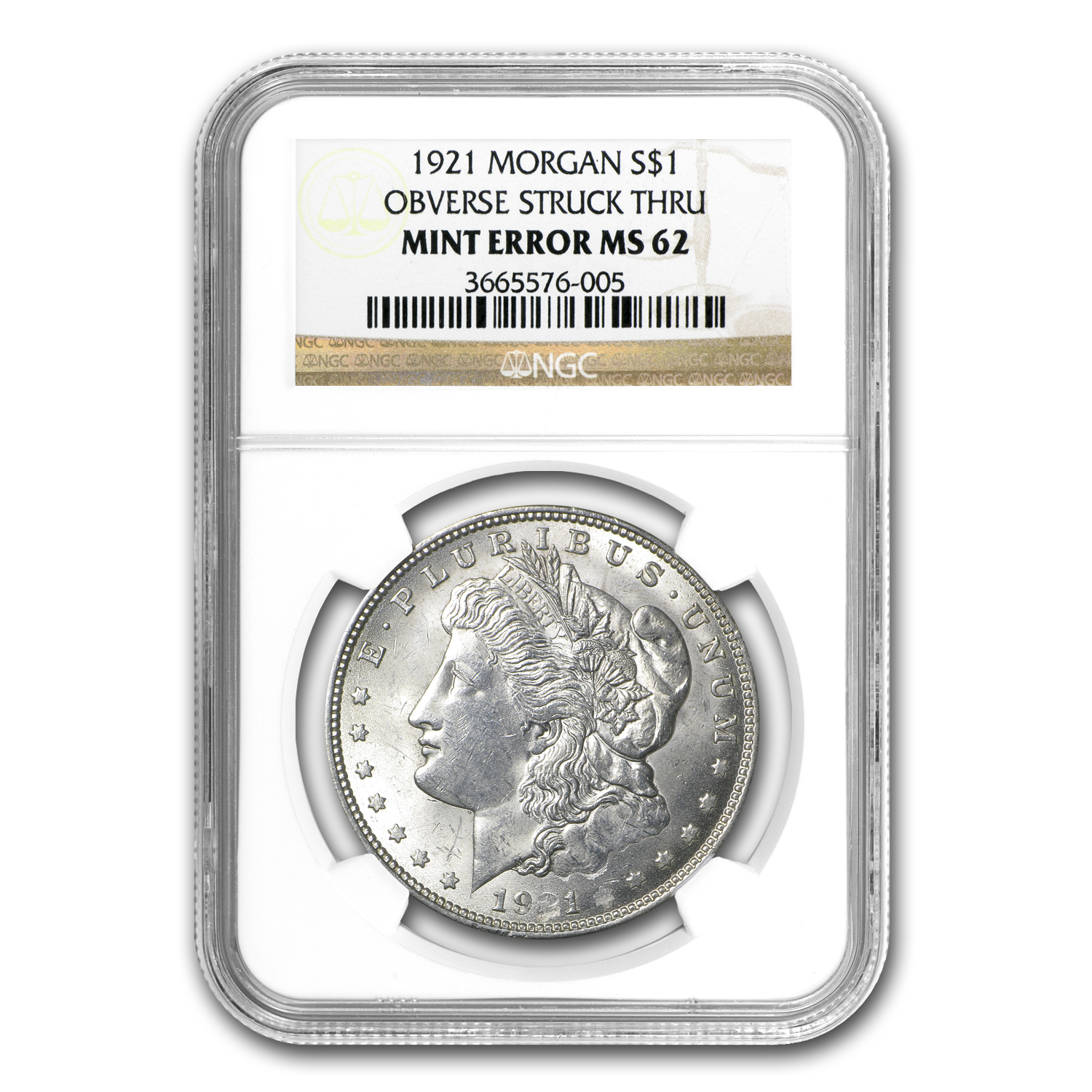 1921 Morgan Dollar MS-62 NGC - Obverse Strike Thru Mint Error