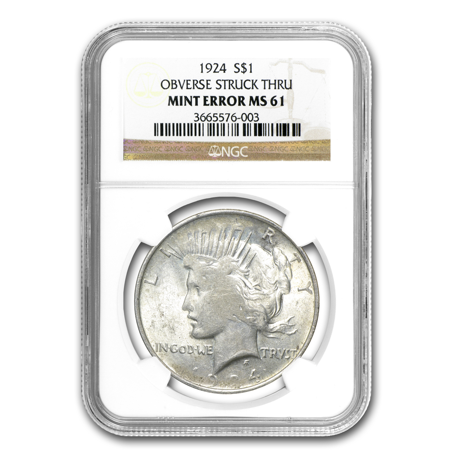 1924 Peace Dollar MS-61 NGC (Struck Thru Grease Error)