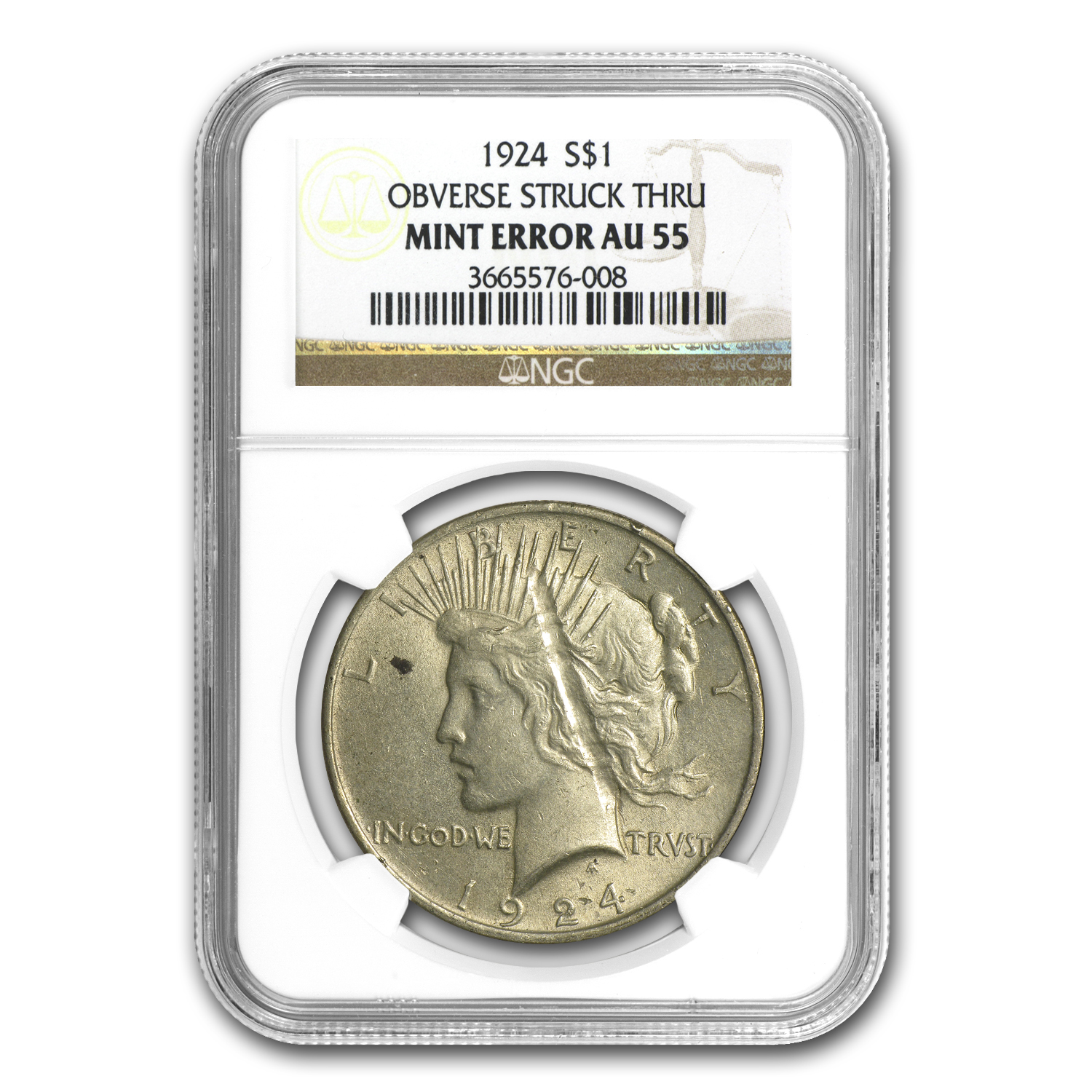 1924 Peace Dollar AU-55 NGC Struck Thru Mint Error