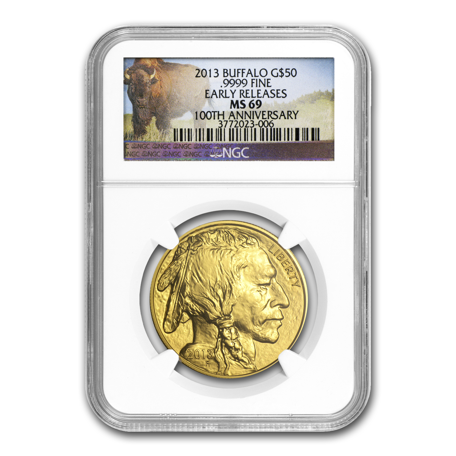 2013 1 oz Gold Buffalo MS-69 NGC (ER, Buffalo Label)