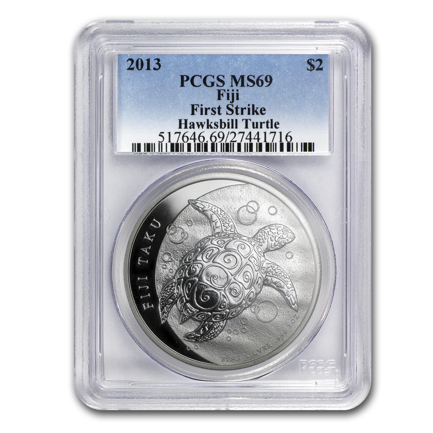 2013 1 oz Silver $2 Fiji Taku MS-69 PCGS (First Strike)