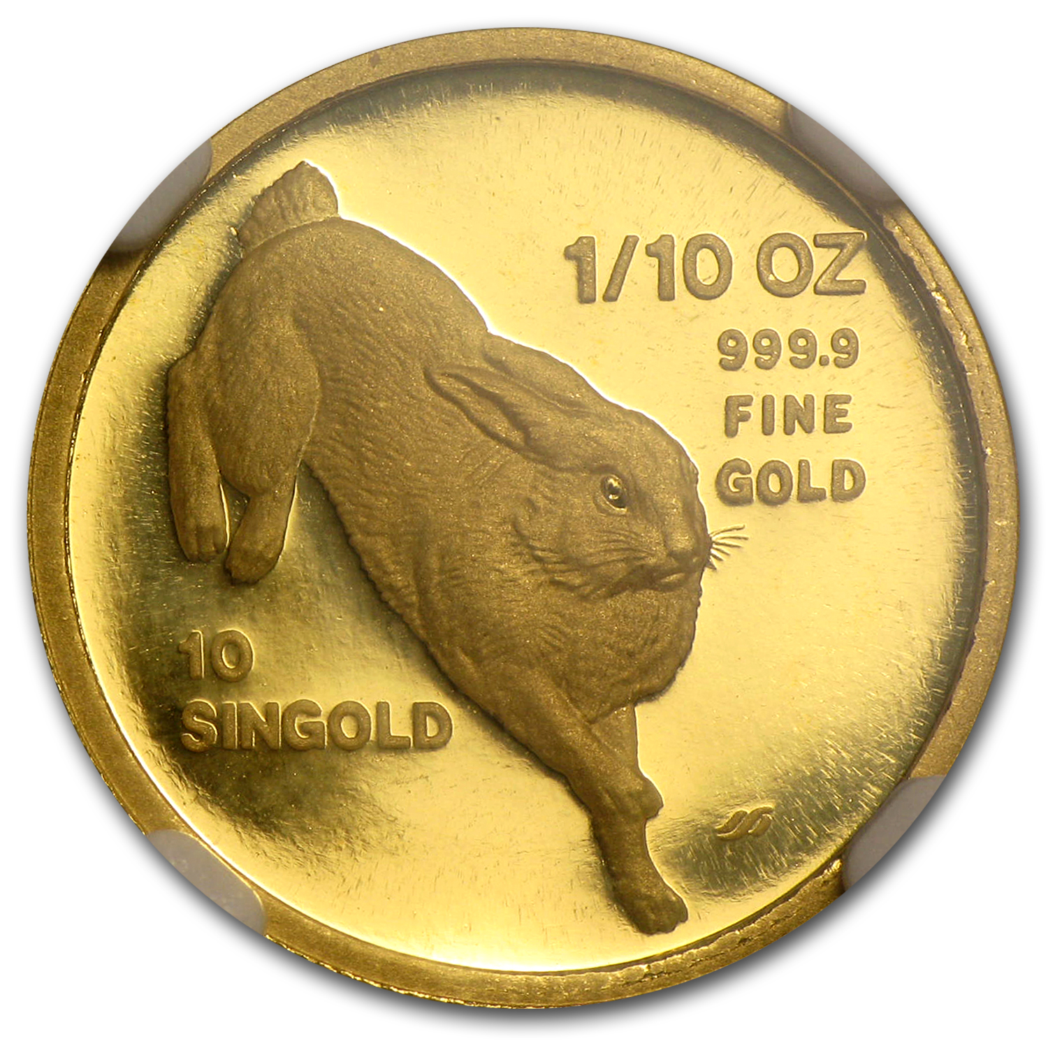 1987 1/10 oz Gold Singapore 10 Singold Rabbit PF-69 NGC