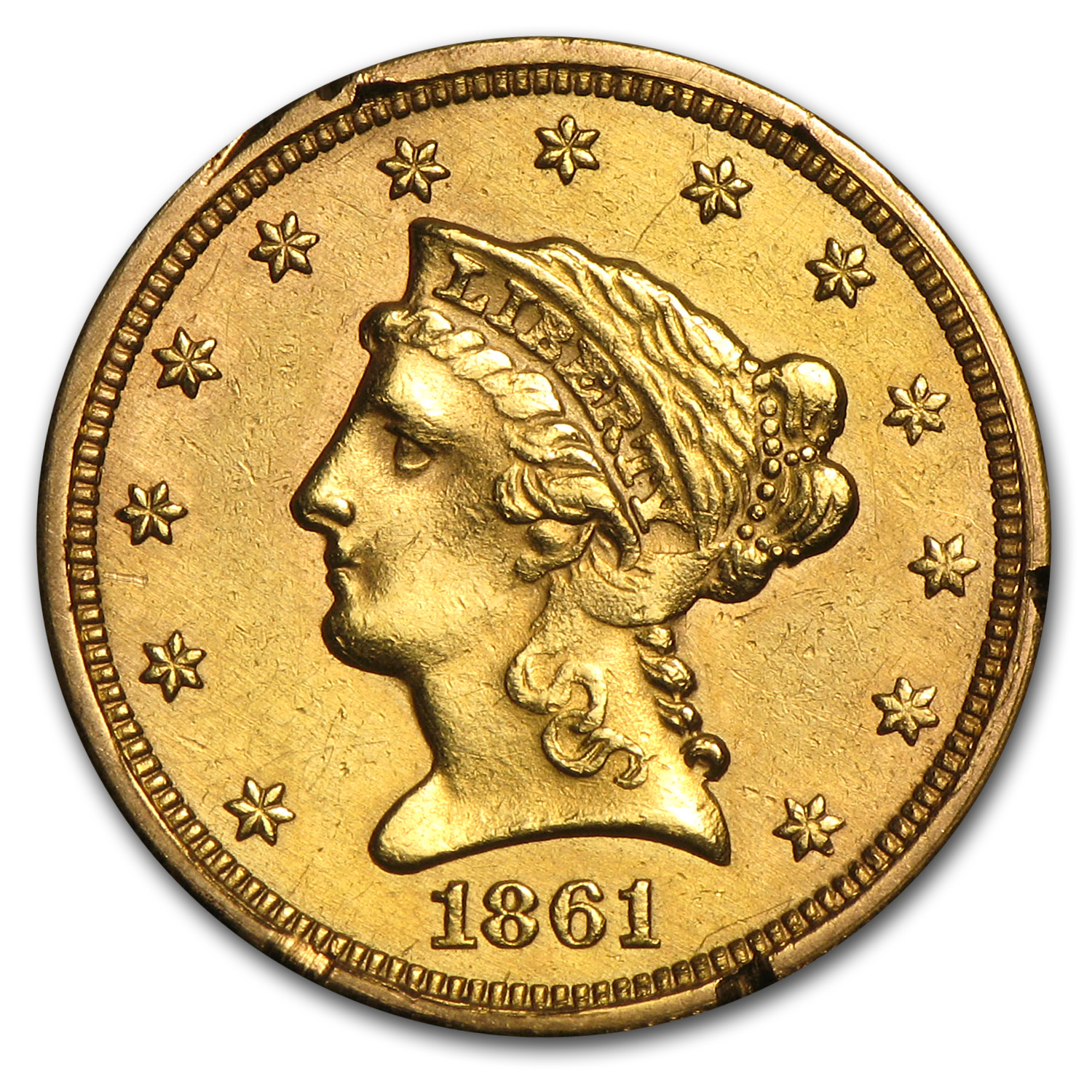 1861 $2.50 Liberty Gold Quarter Eagle Type I Rev AU Details