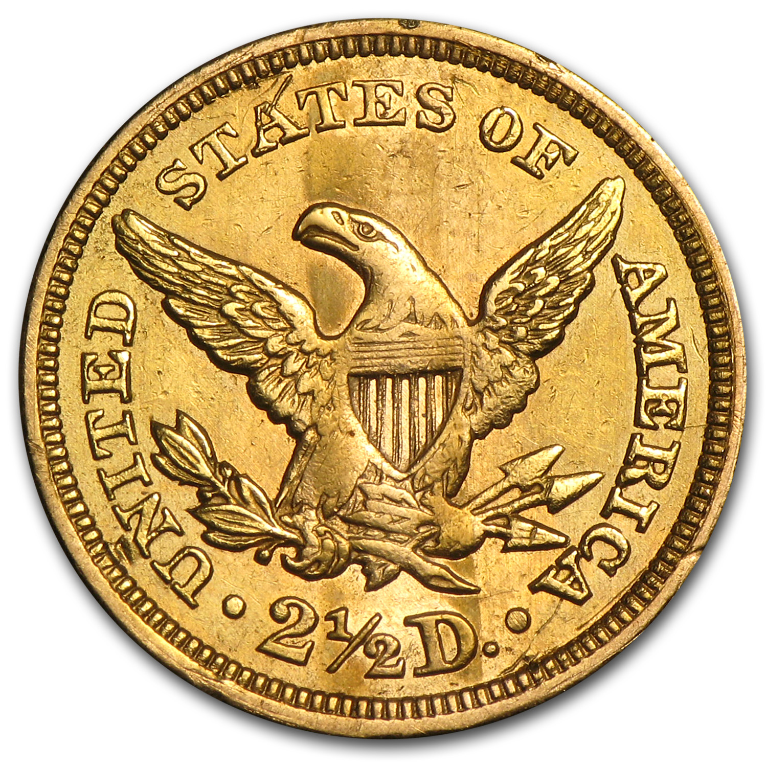 1861 $2.50 Liberty Gold Quarter Eagle - Type I Rev - AU Details