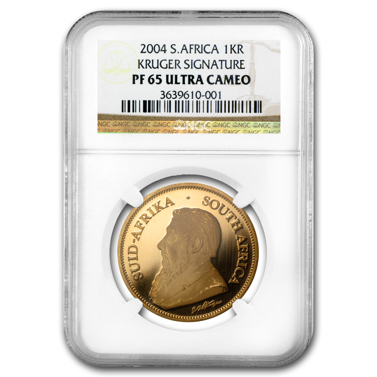 2004 1 oz Gold South African Krugerrand PF-65 NGC (Signature)