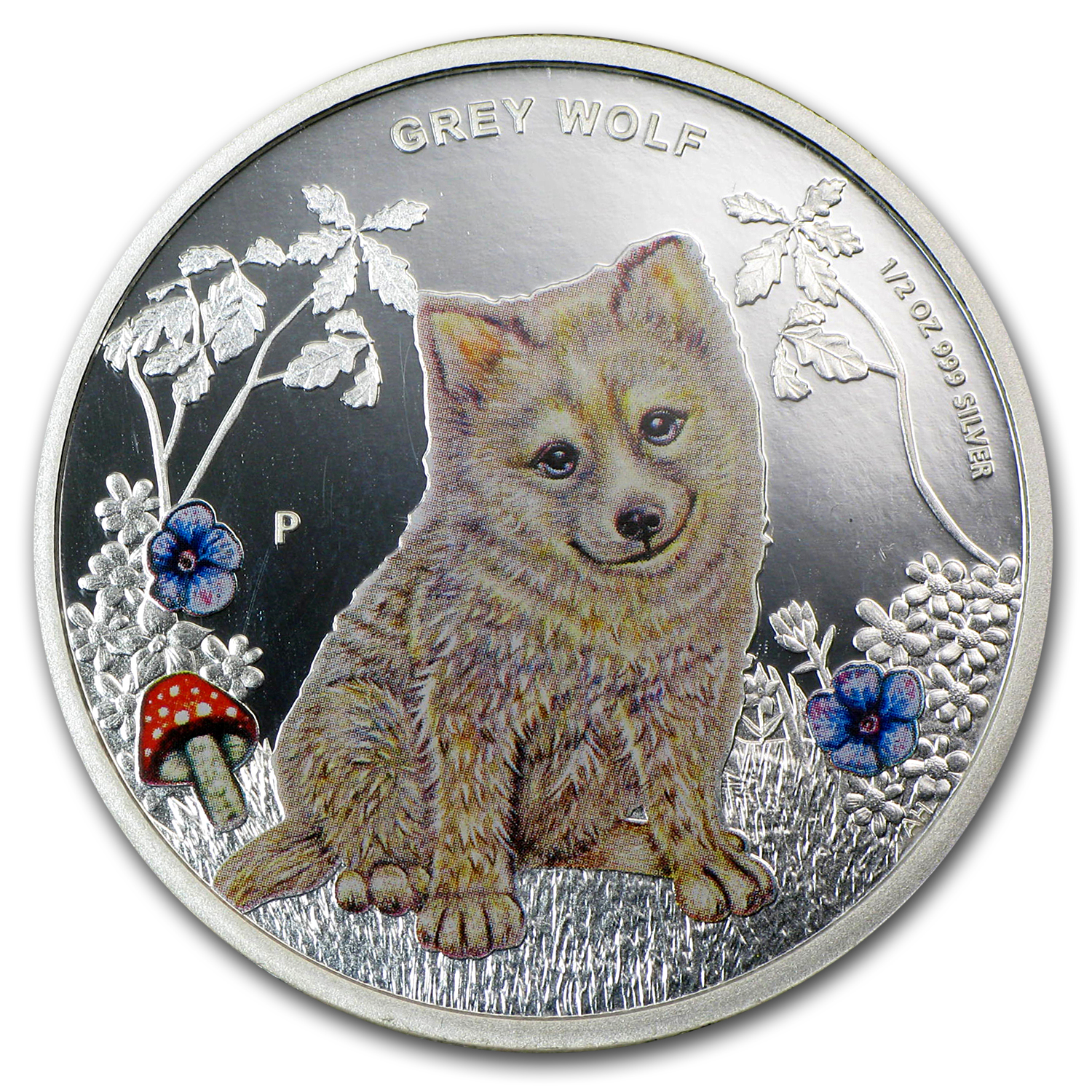 2013 Tuvalu 1/2 oz Proof Silver Forest Babies (Grey Wolf)