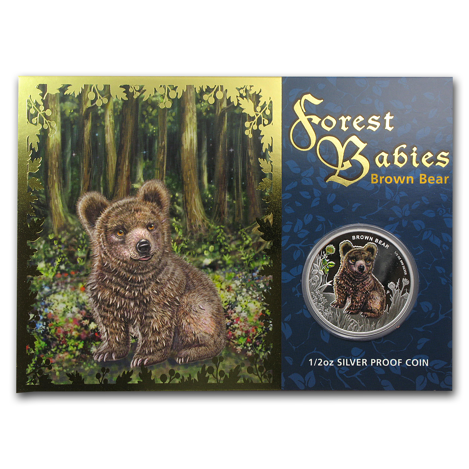 2013 Tuvalu 1/2 oz Proof Silver Forest Babies (Brown Bear)