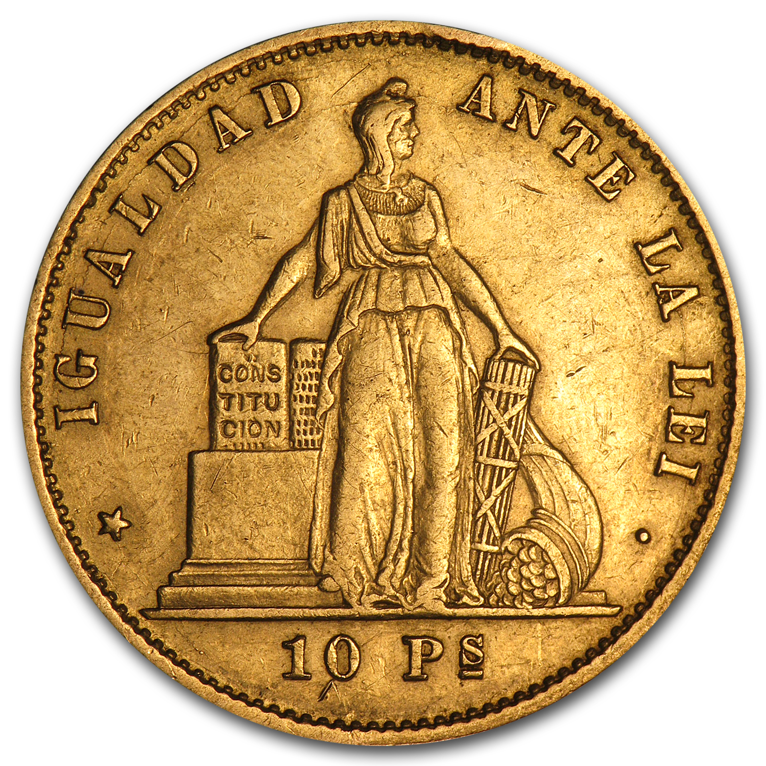 1851-1892 Chile Gold 10 Pesos VF (Random Dates)