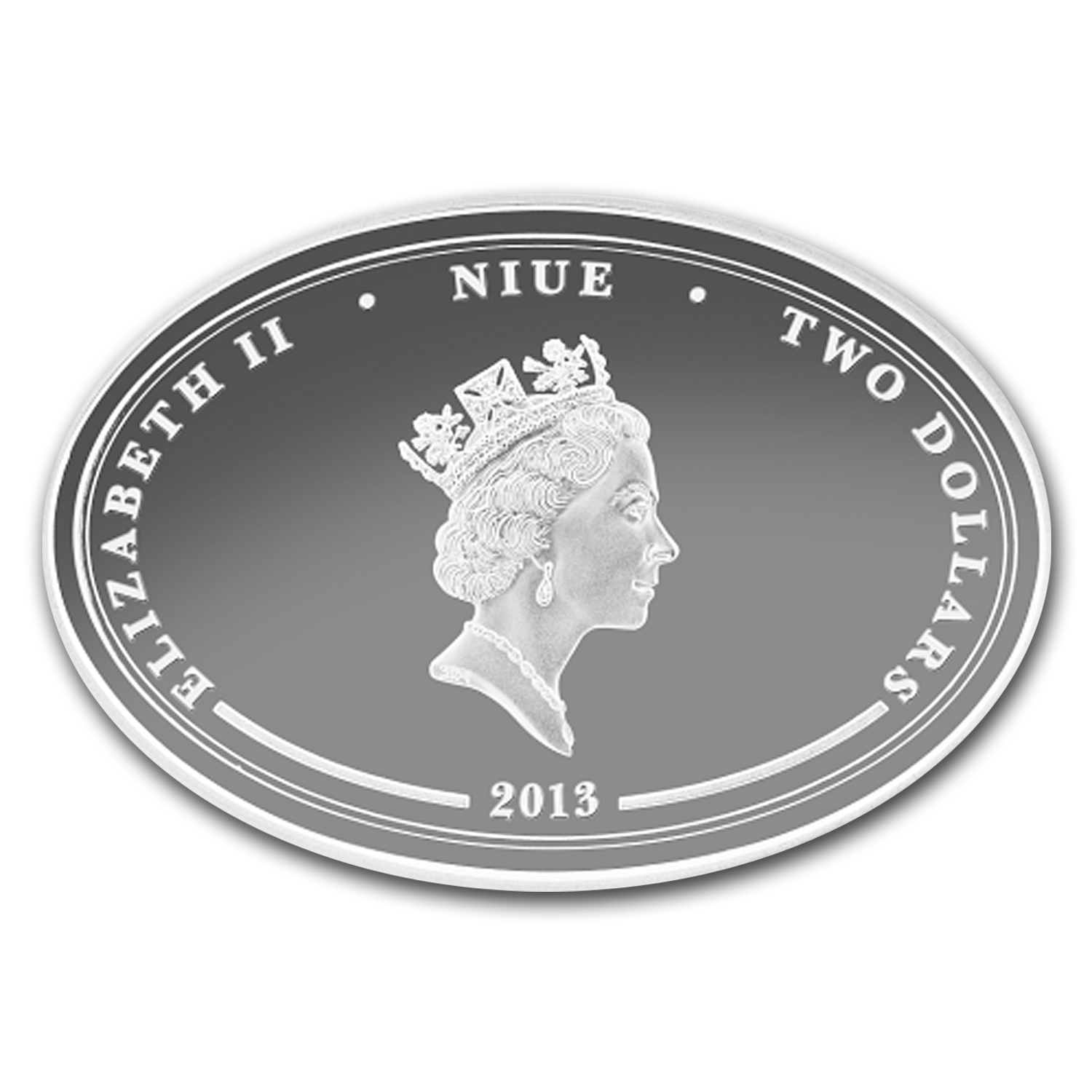 2013 Niue 1 oz Silver $2 Lunar Year of the Snake Lucky Oval Coin