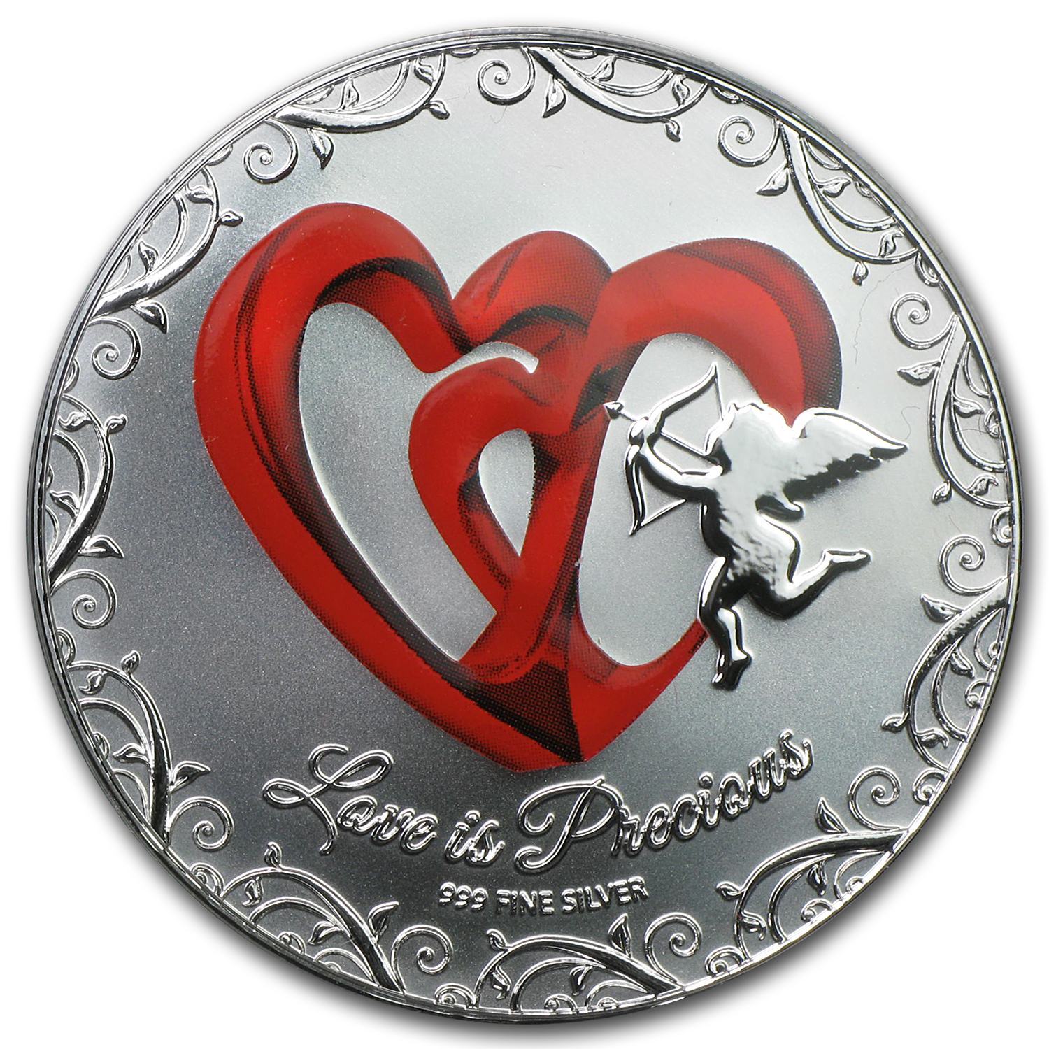 2013 Niue 1 oz Silver $2 Love is Precious Red Heart (w/Box & COA)
