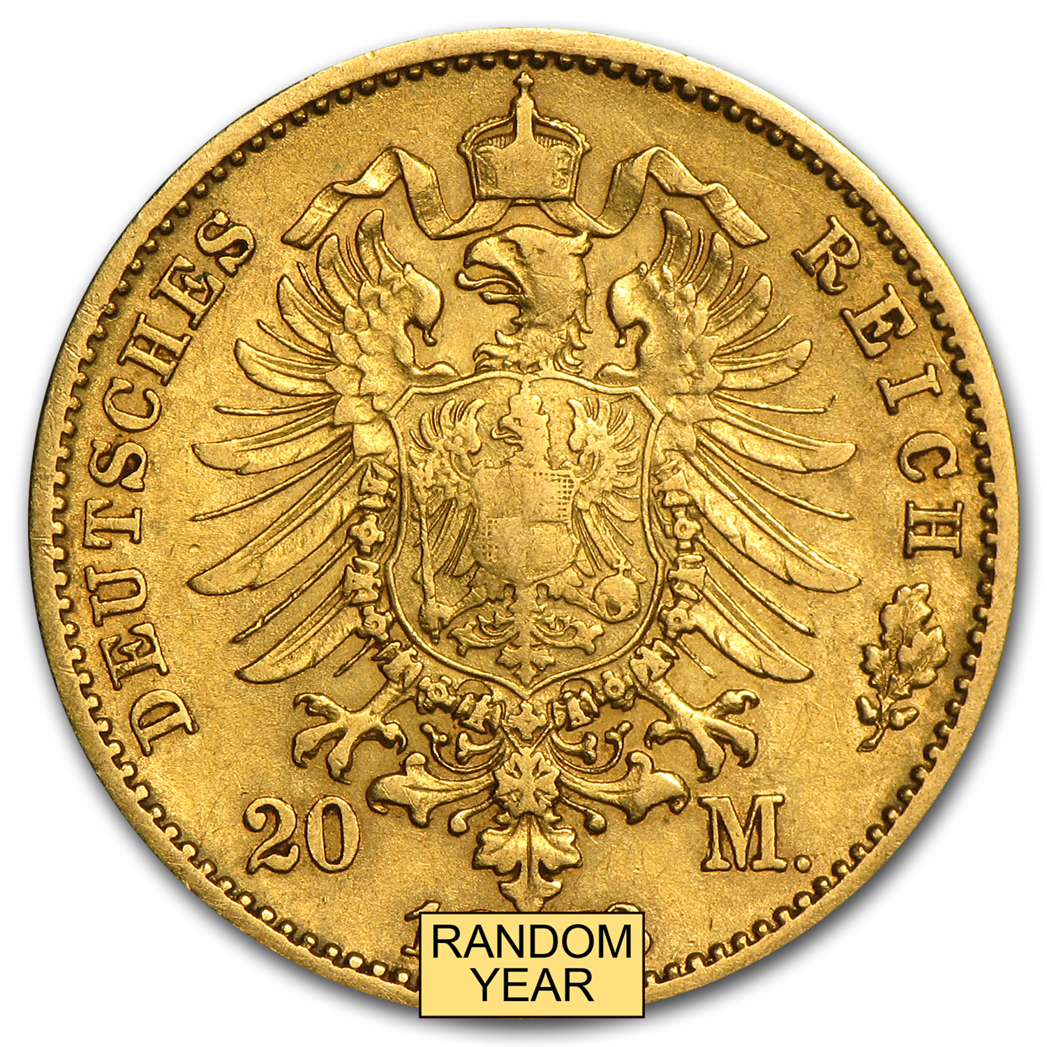 1872-1873 Germany Gold 20 Mark Saxony Johann Avg Circ