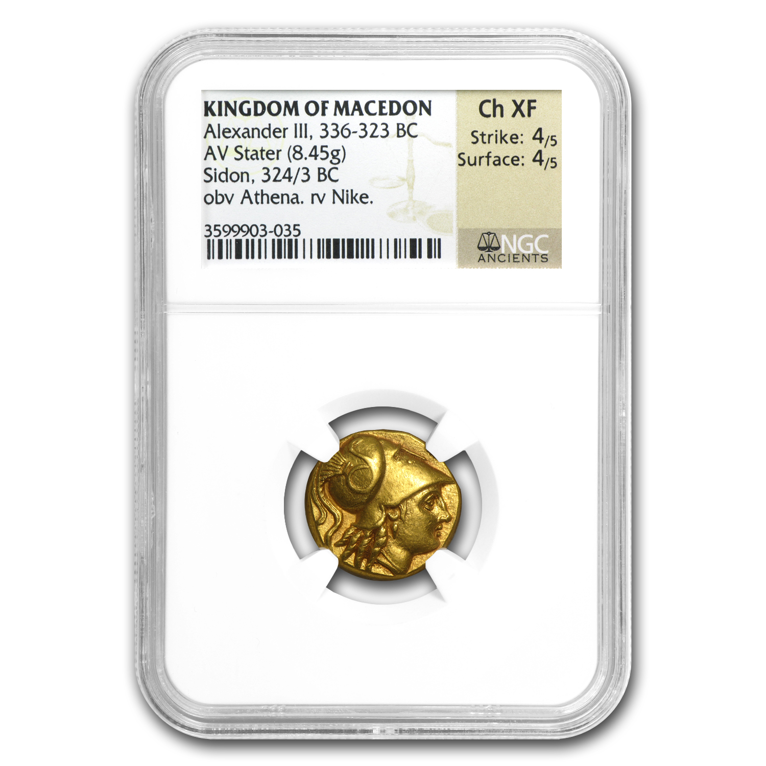 Macedonia Gold Stater of Alexander III Ch XF NGC (336-323 BC)