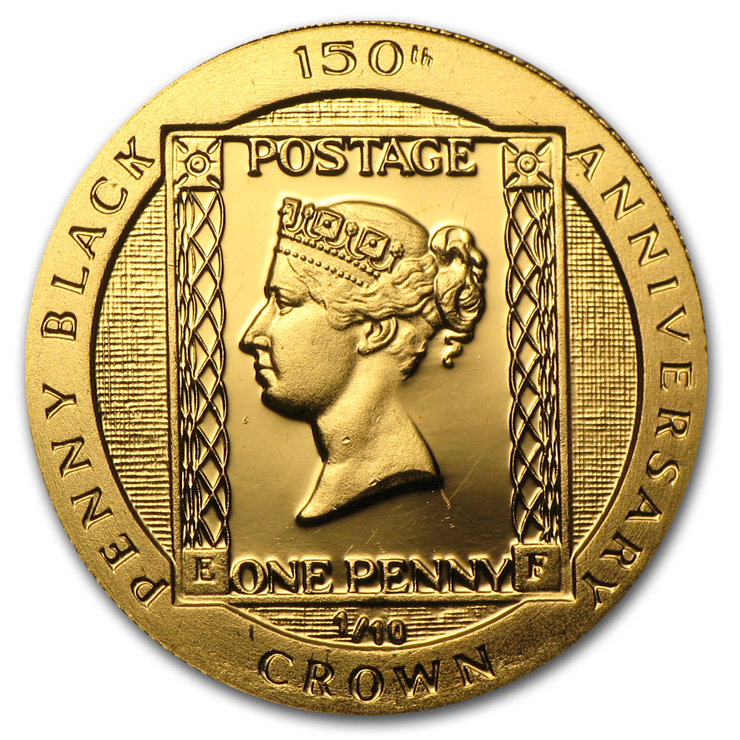1990 Isle of Man 1/10 Crown Proof Gold Penny Black